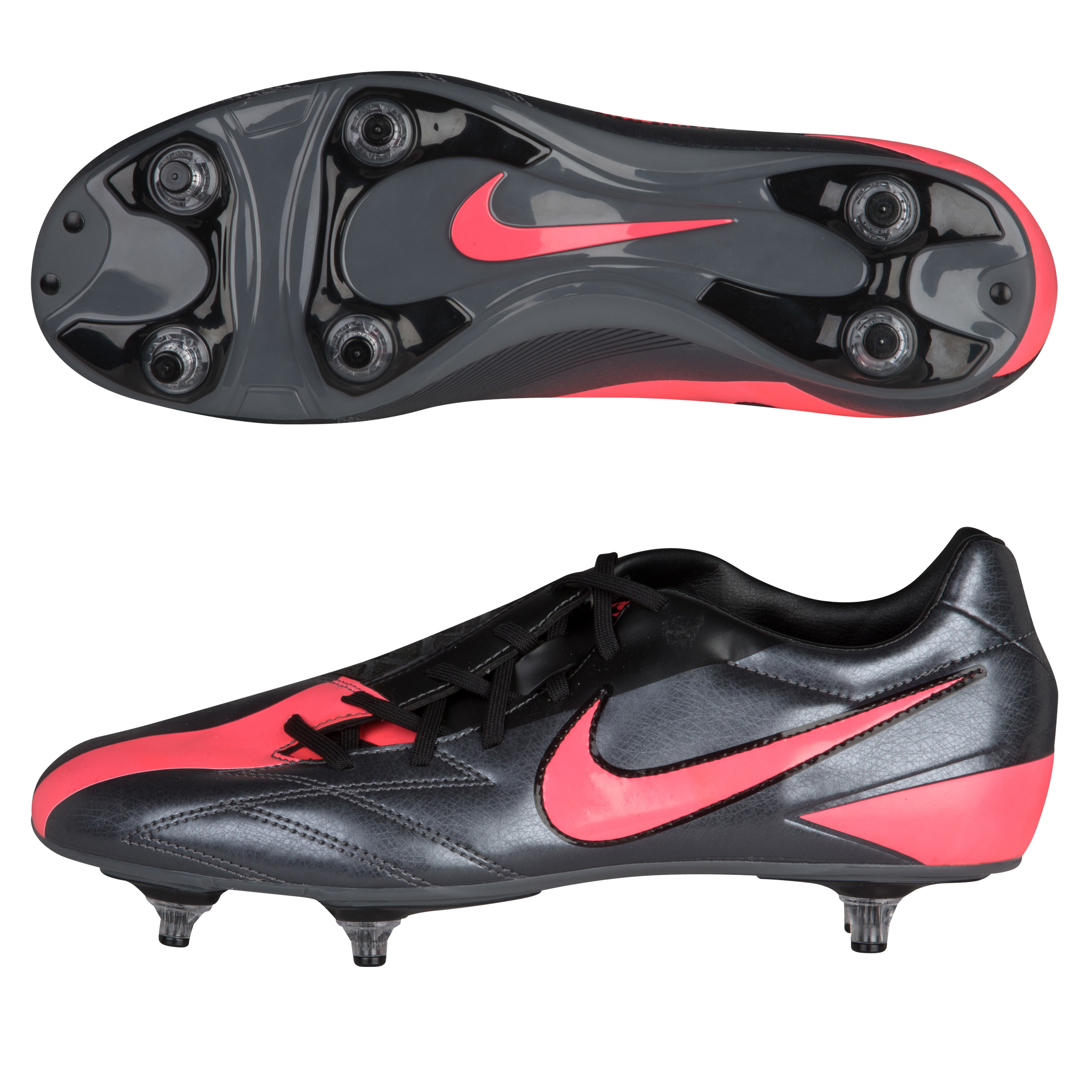 Nike T90 Shoot IV Soft Ground Football Boots - Dark Grey/Solar Red/Black