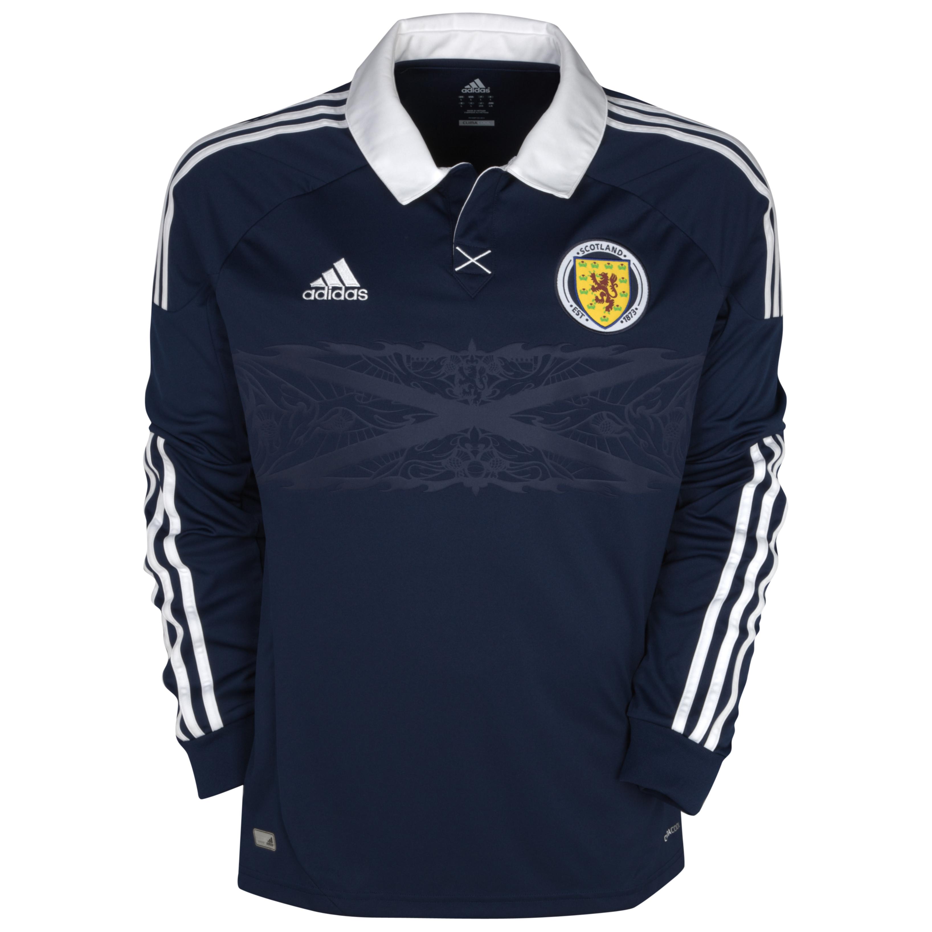 Scotland Home Shirt 2012/14 - Long Sleeved - Dark Indigo/White