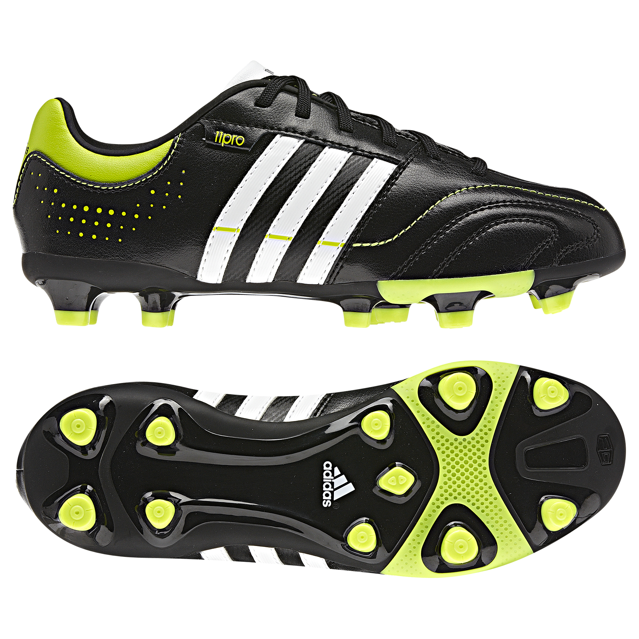 adidas 11Nova TRX Firm Ground Football Boots - Black/Running White/Slime - Kids