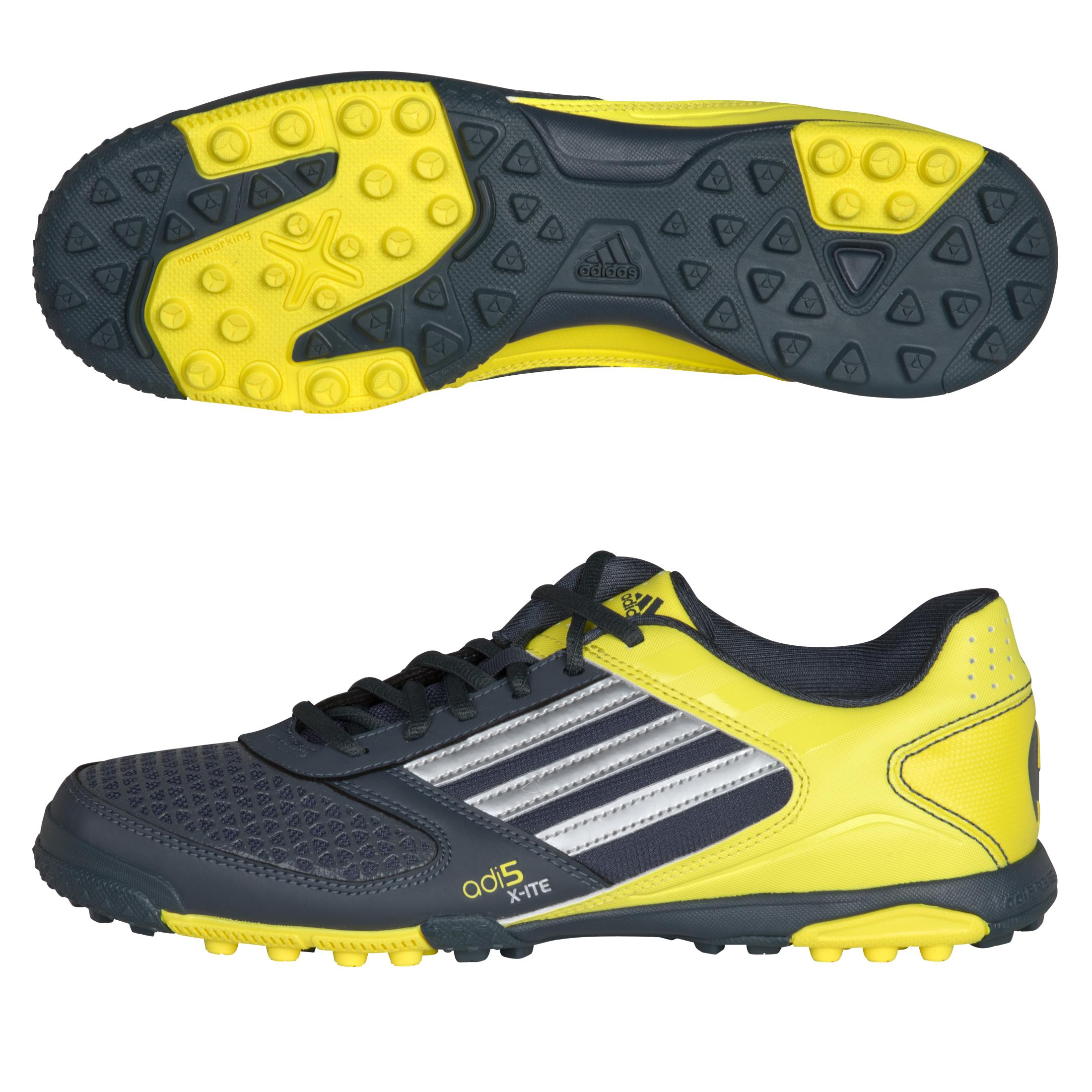 adidas adi5 X-ite Astro Turf Trainers - Dark Onix / Metallic Silver / Lemon Peel