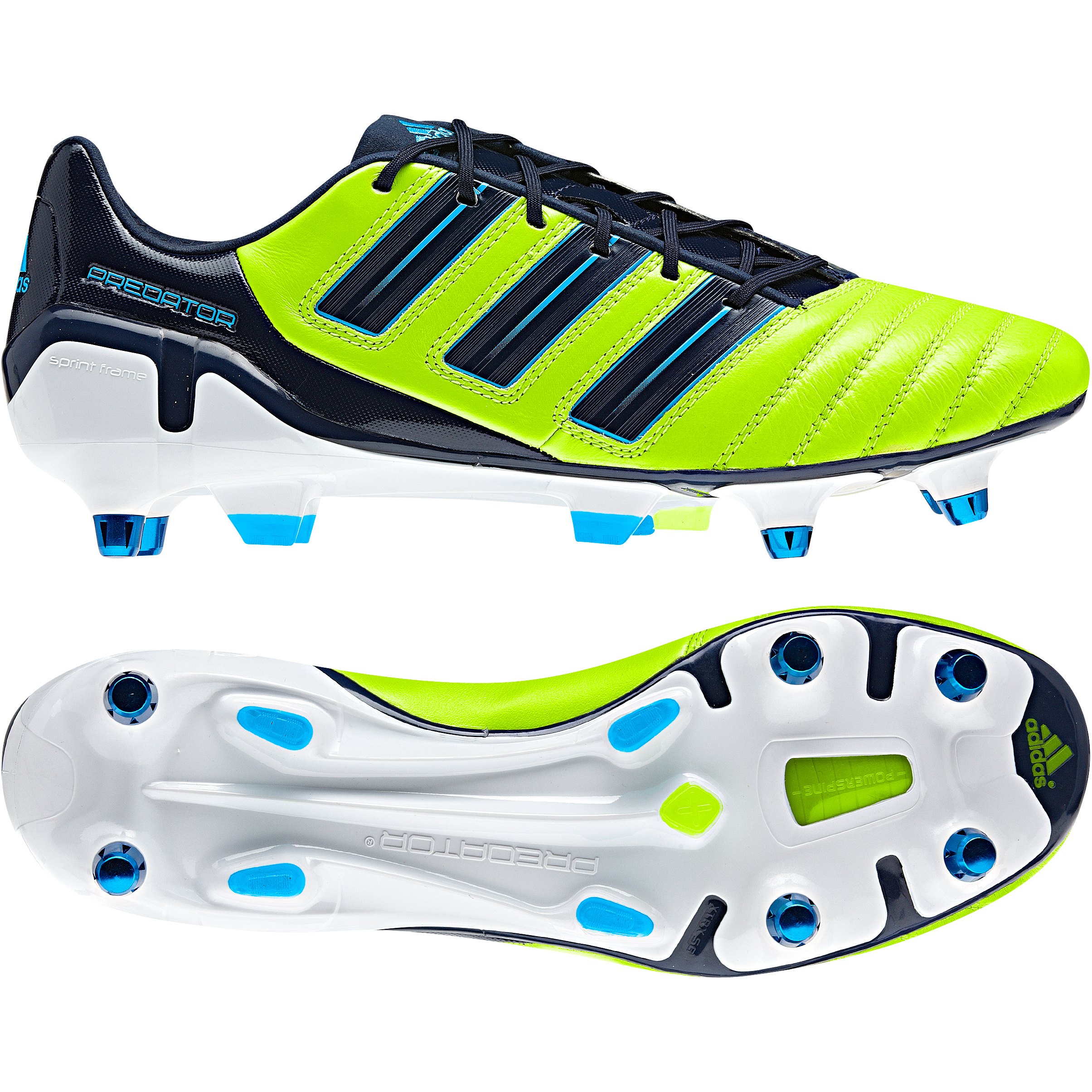 adidas adipower Predator X TRX Soft Ground Football Boots - Slime / Dark Indigo / Pred Sharp Blue Met
