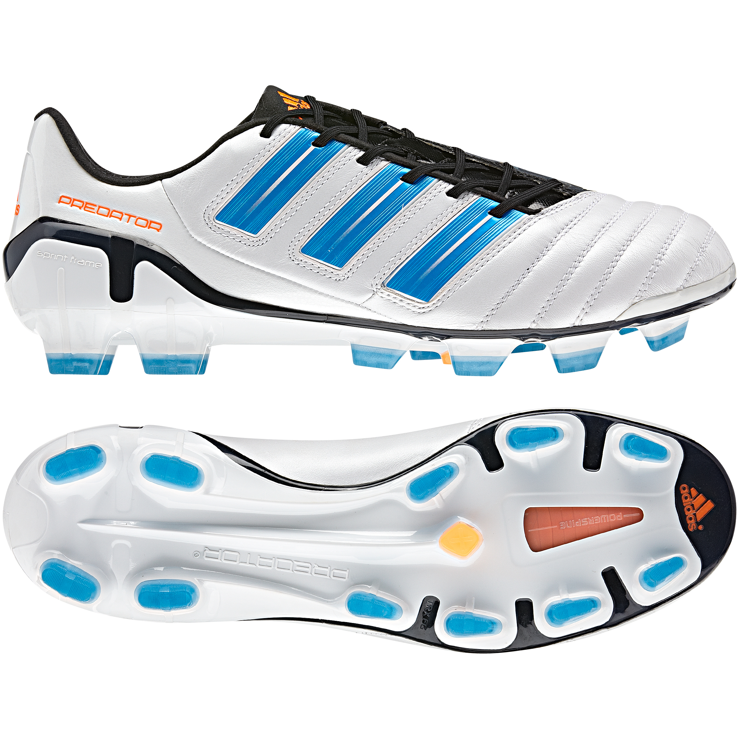 adidas adipower Predator TRX Firm Ground Football Boots - Predator Run Wht Met. / Pred Sharp Blue Met. / Warning
