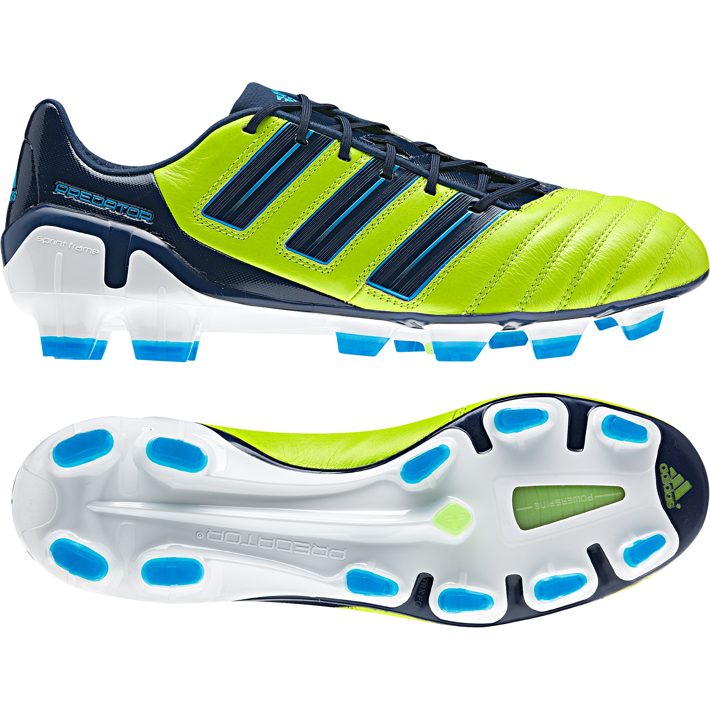 adidas adipower Predator TRX Firm Ground Football Boots - Slime / Dark Indigo / Pred Sharp Blue Met