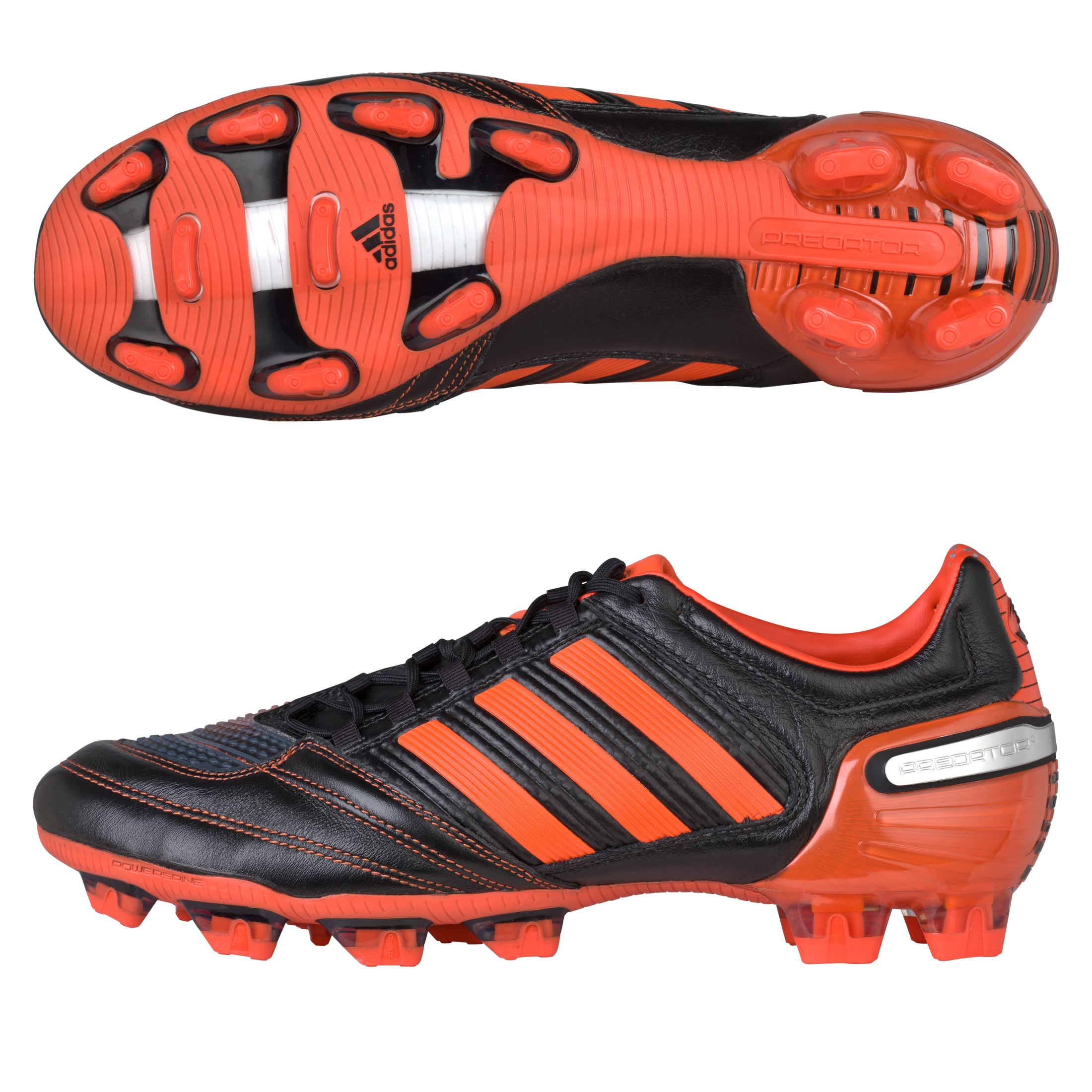 adidas Predator RX TRX Firm Ground Leather Rugby Boots - Black 1 / Running White / High Energy S12