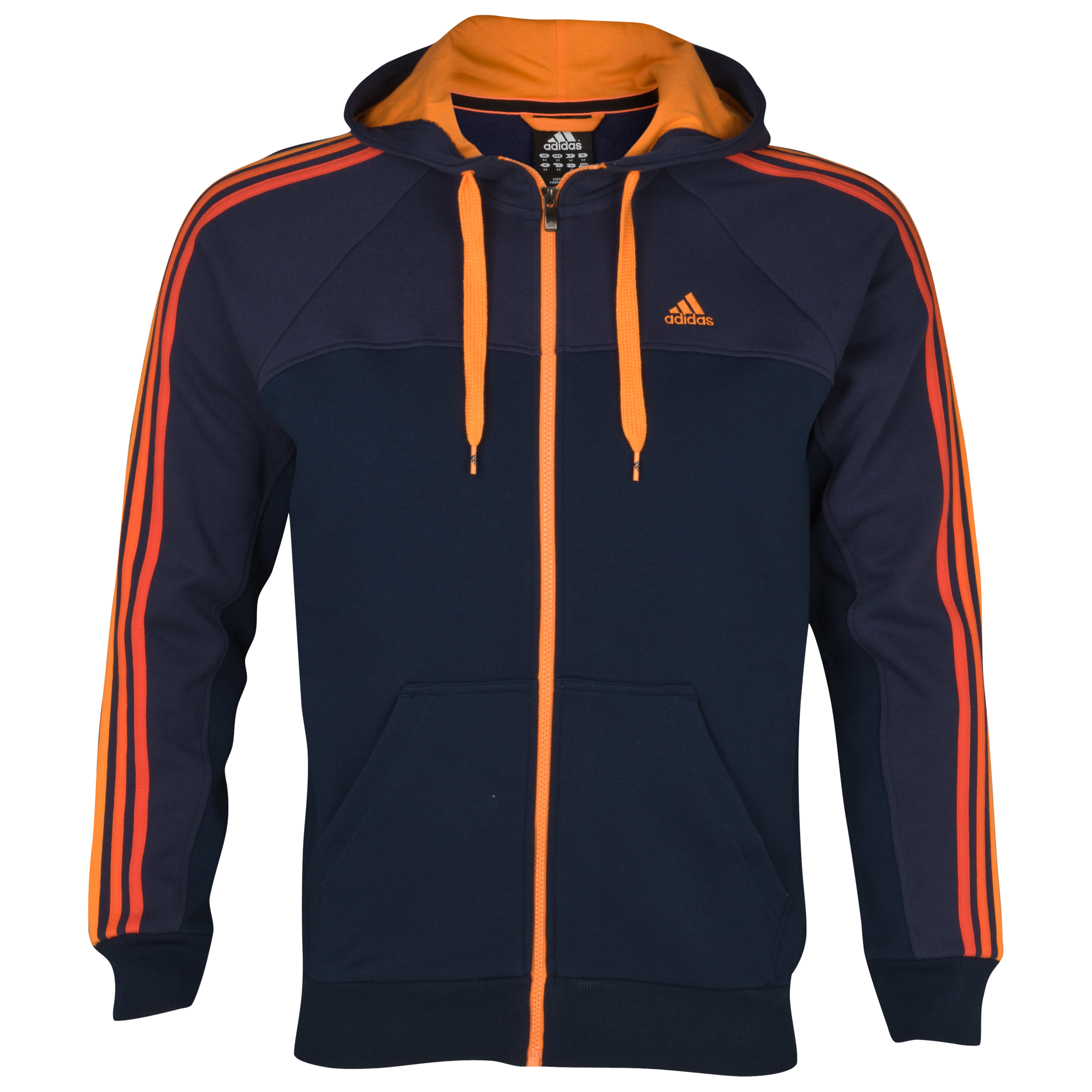 adidas Essentials 3 Stripe Full Zip Hooded Top - Collegiate Navy/Marine