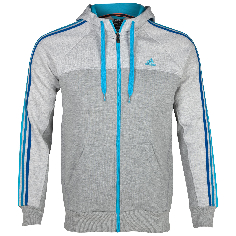 Adidas Essentials 3 Stripe Full Zip Hooded Top - Medium Grey Heather/Light Grey Heather