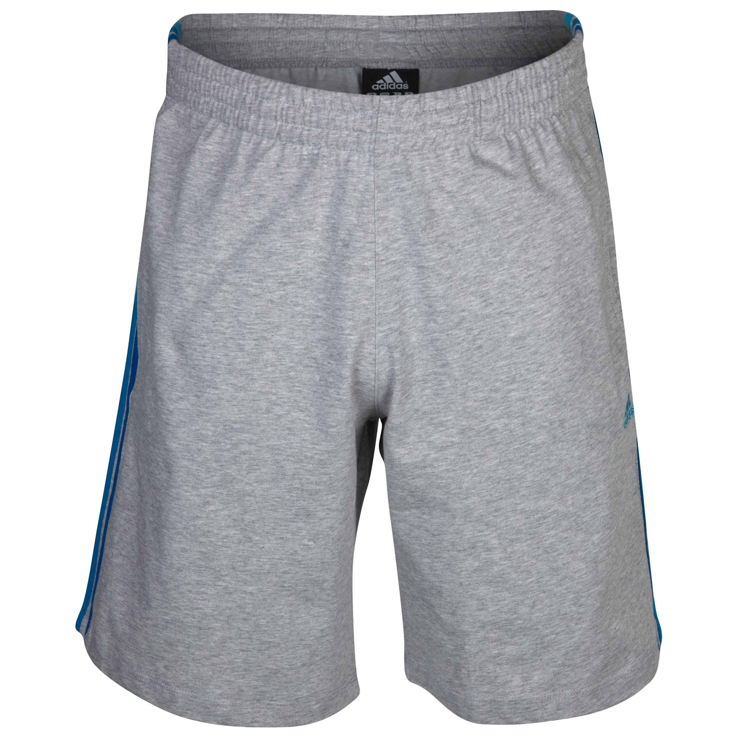 adidas Essentials 3 Stripe Short - Medium Grey Heather/Super Cyan S12