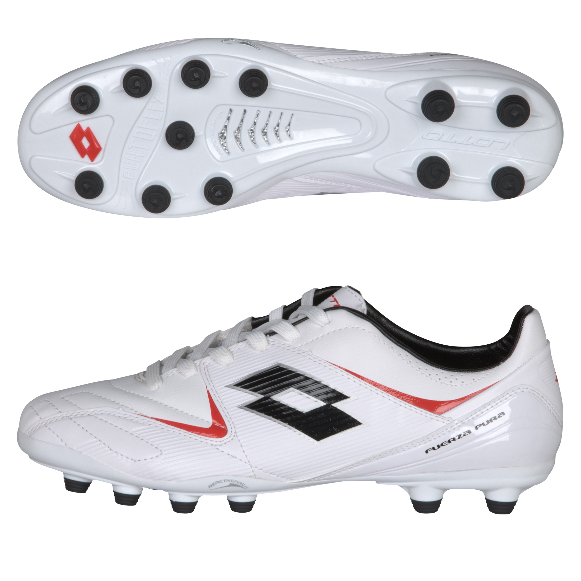 Lotto Fuerzapura II 500 Firm Ground Football Boots - White/Risk Red