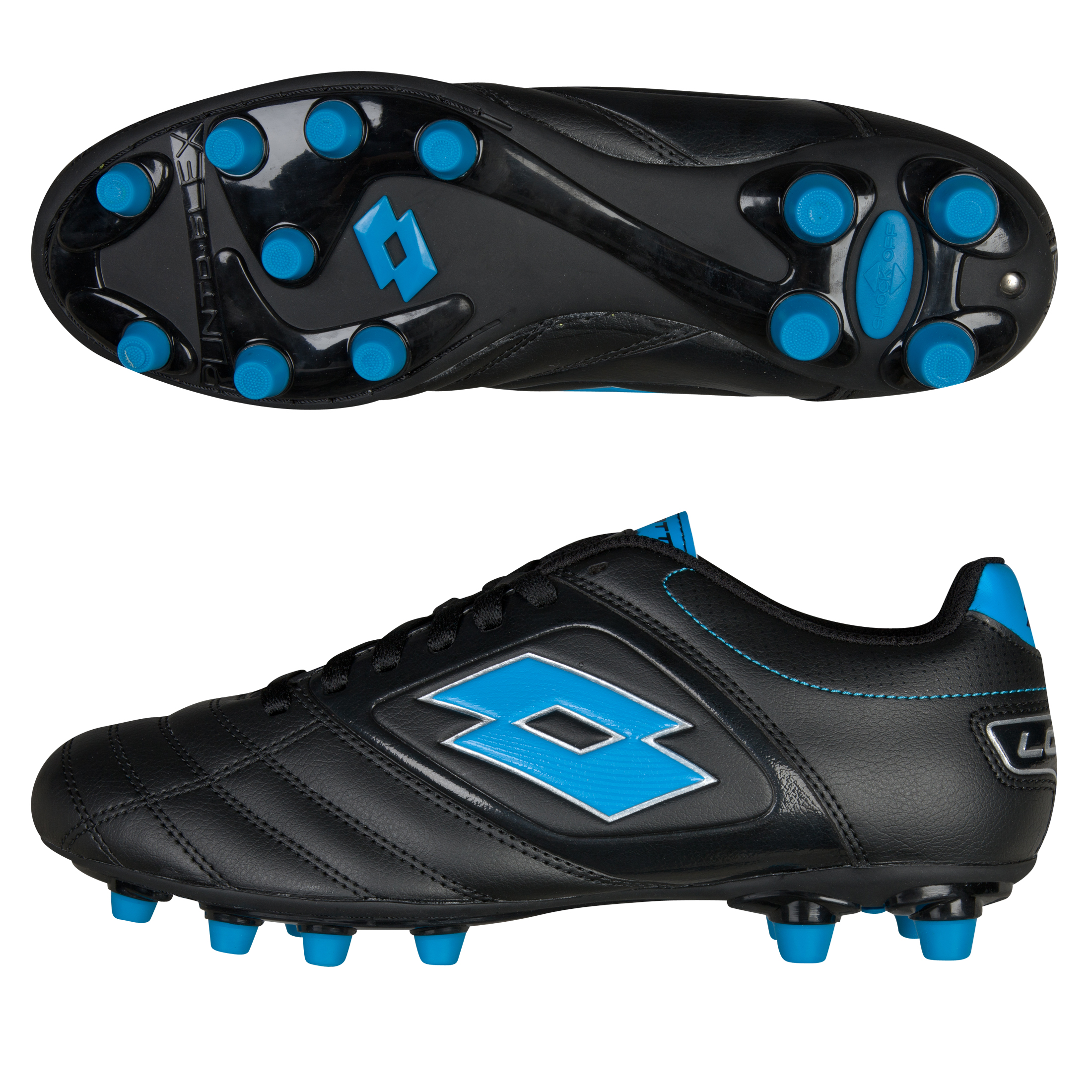 Lotto Stadio Potenza 500 Firm Ground Football Boots - Black/Blue Fluo