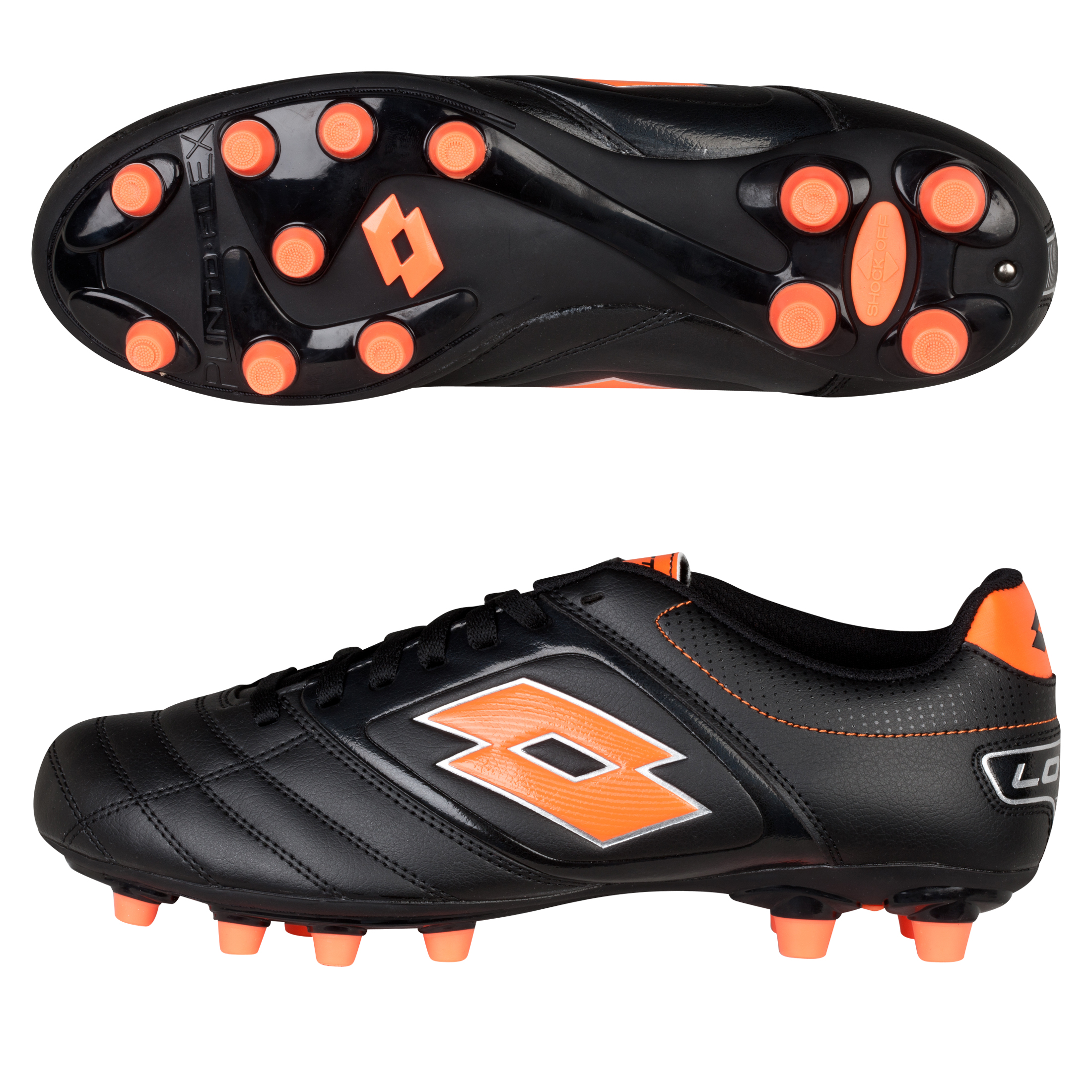 Lotto Stadio Potenza 500 Firm Ground Football Boots - Black/Orange Neon