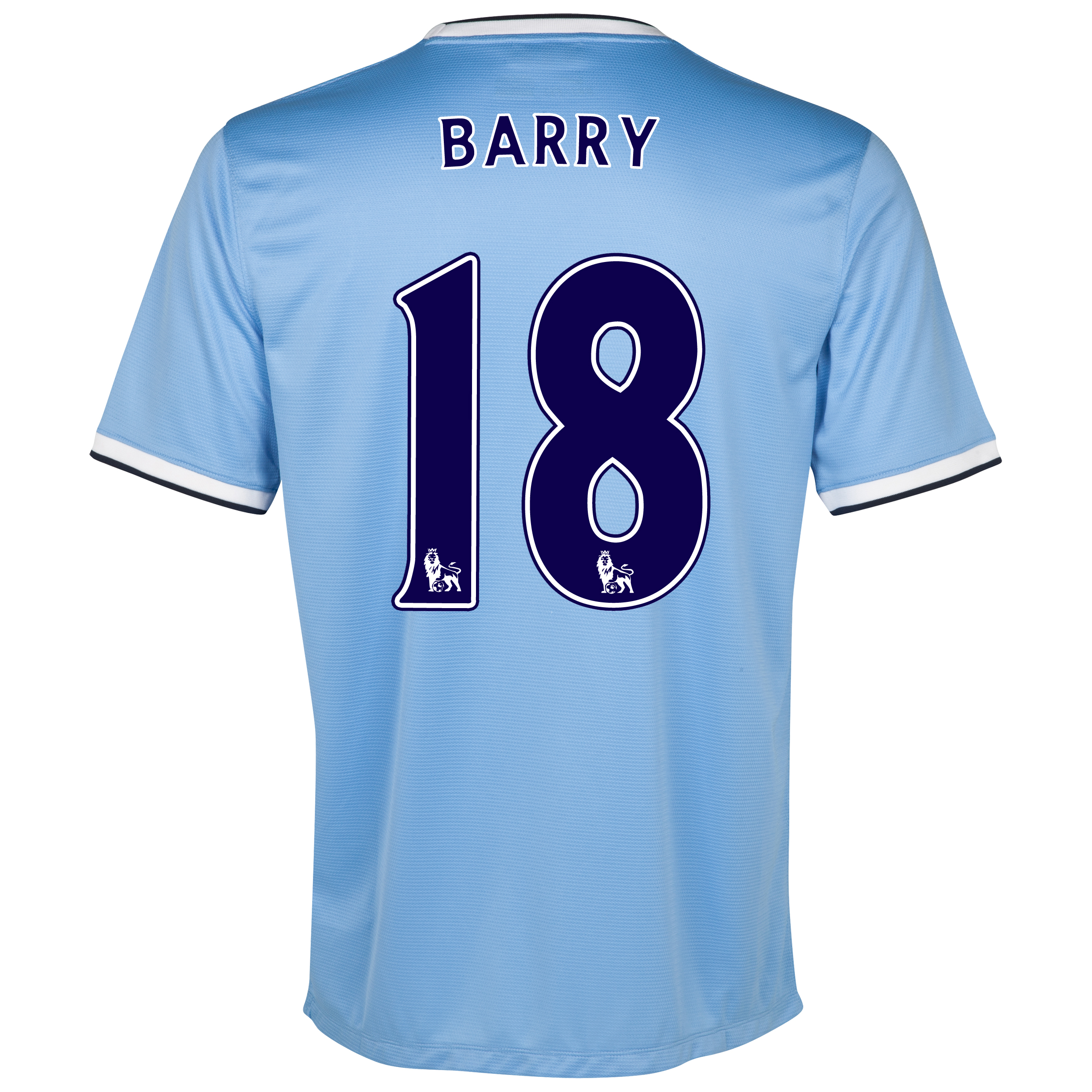 Manchester City Home Shirt 2013/14 with Barry 18 printing