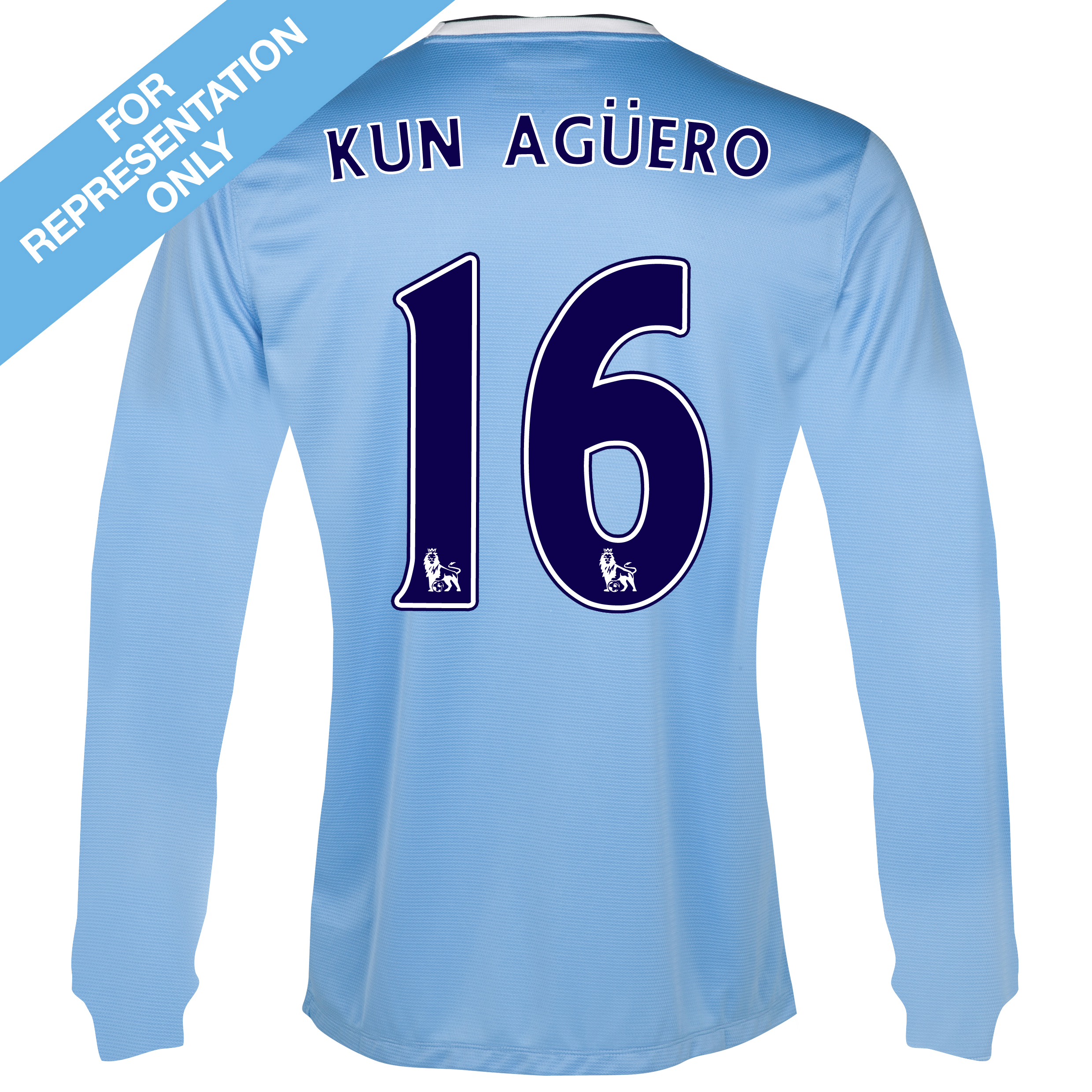 Manchester City Home Shirt 2013/14 - Long Sleeved with Kun Agüero  16 printing