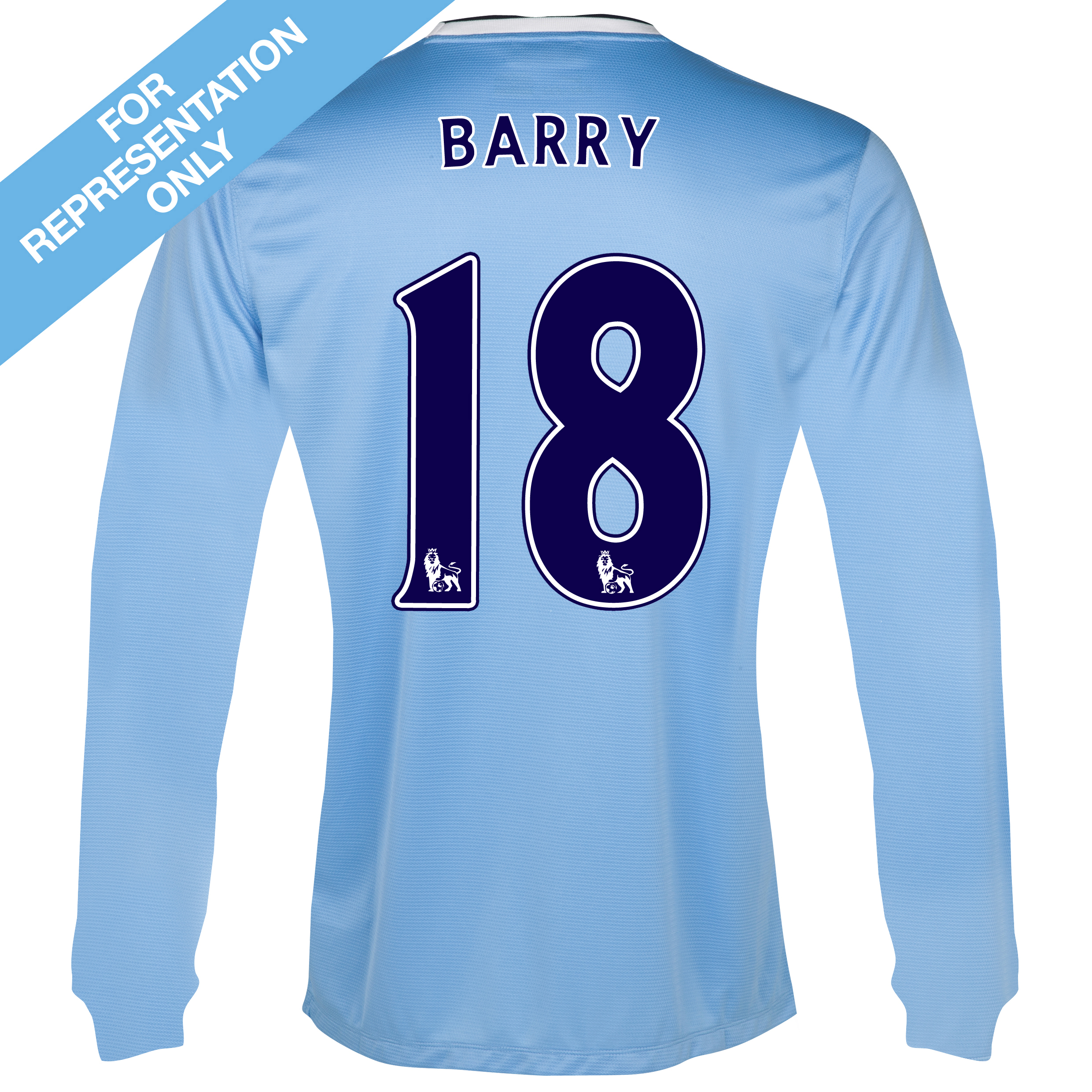 Manchester City Home Shirt 2013/14 - Long Sleeved with Barry 18 printing