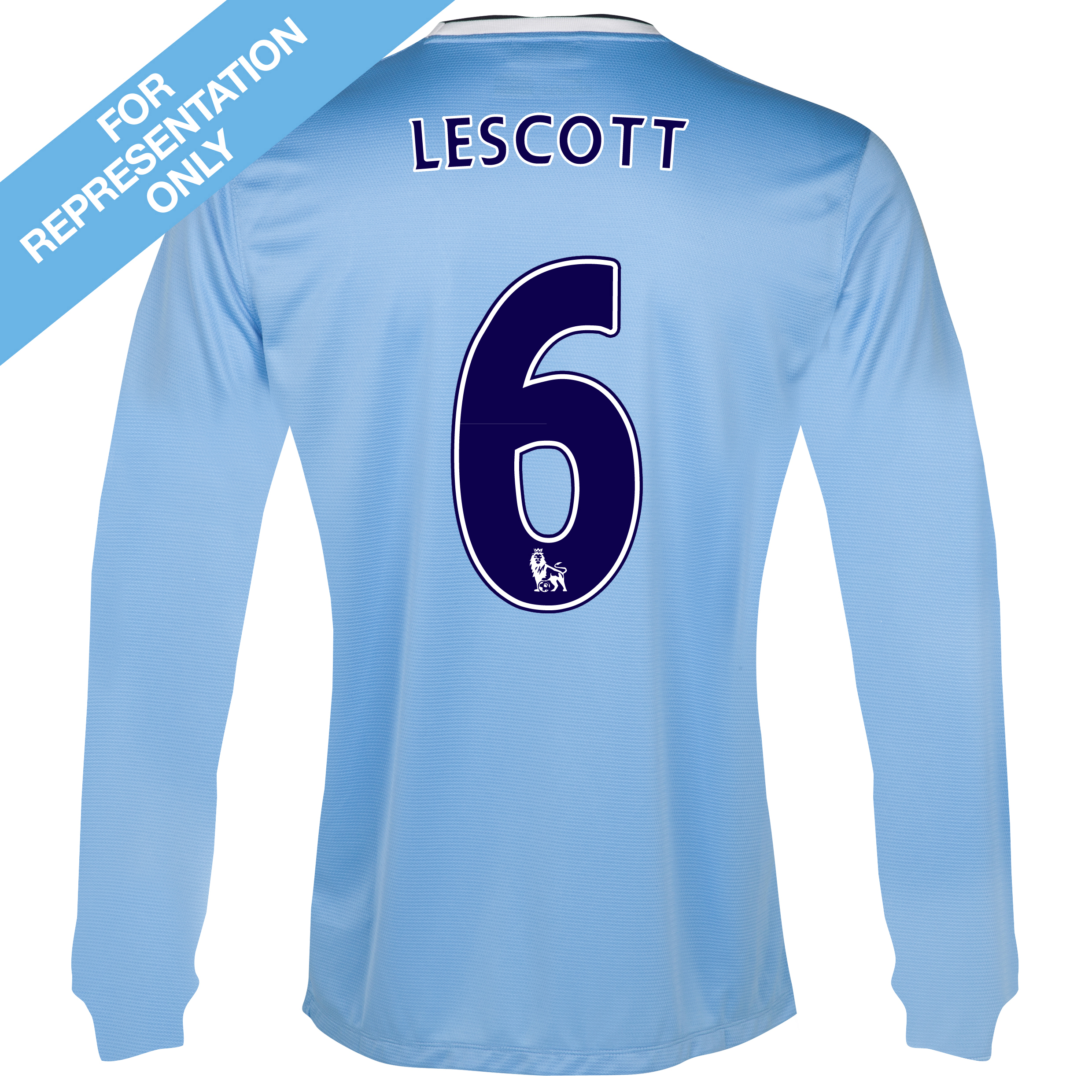 Manchester City Home Shirt 2013/14 - Long Sleeved - Junior with Lescott 6 printing