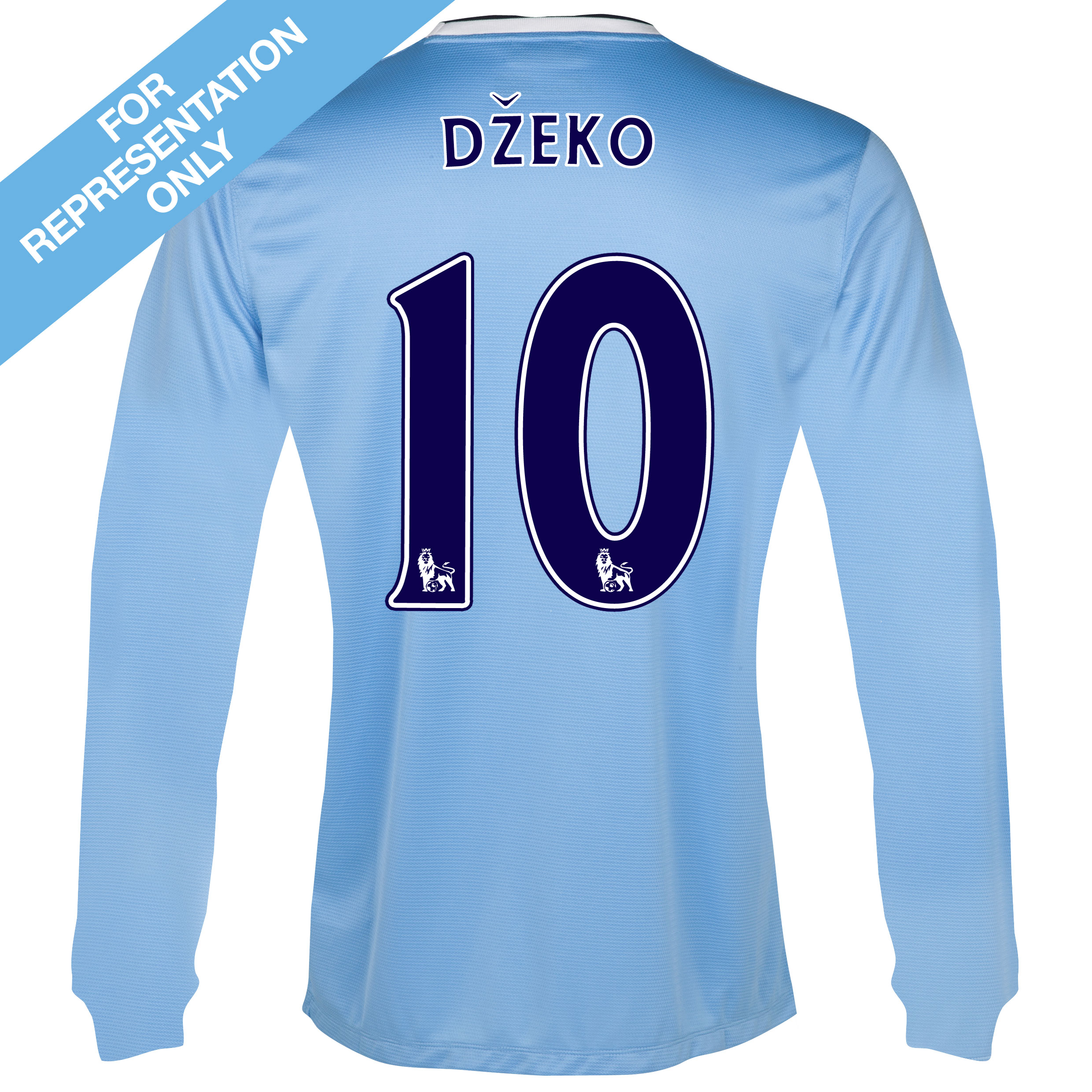 Manchester City Home Shirt 2013/14 - Long Sleeved - Junior with Dzeko 10 printing