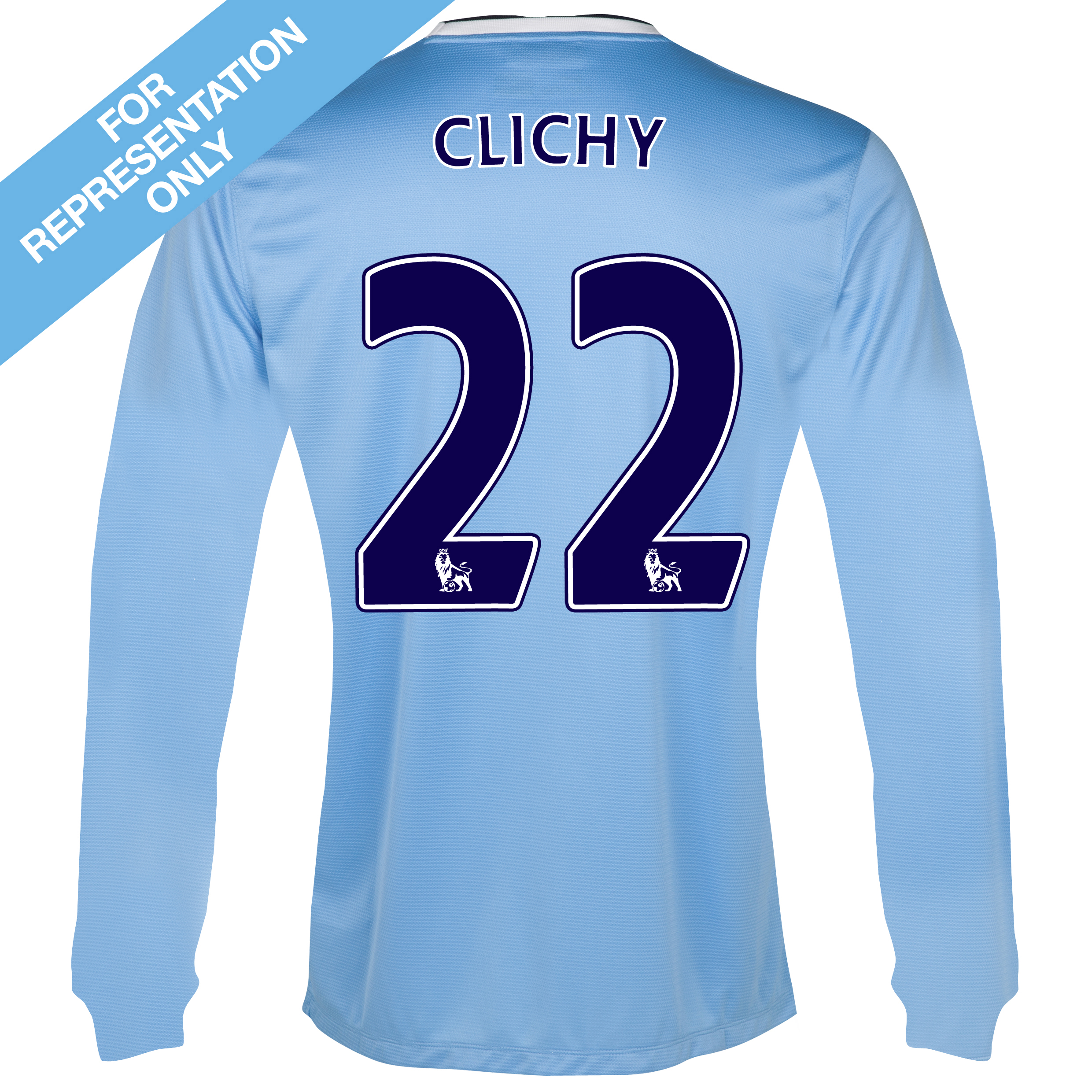 Manchester City Home Shirt 2013/14 - Long Sleeved - Junior with Clichy 22 printing