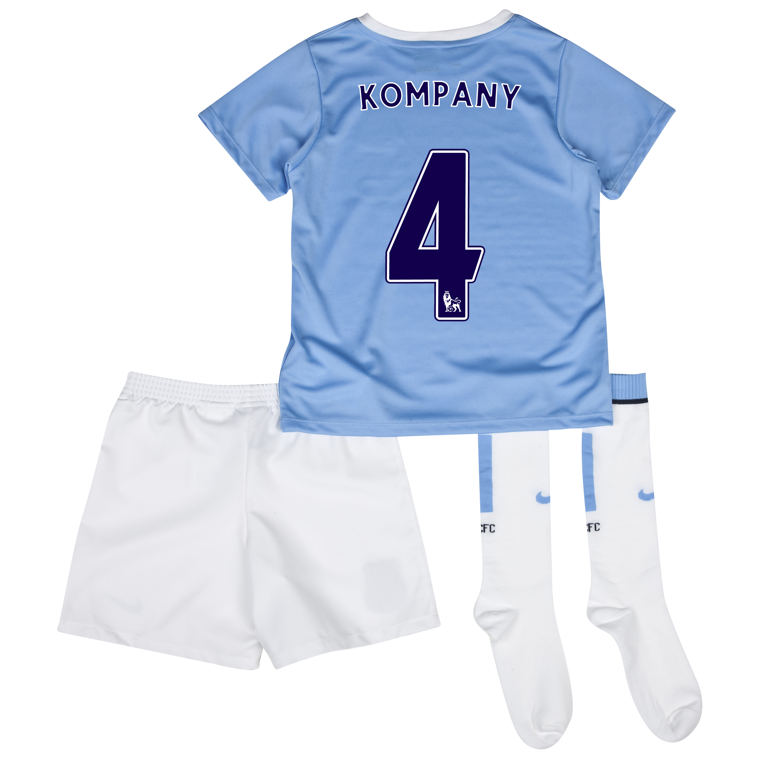 Manchester City Home Little Boys Kit 2013/14 with Kompany 4 printing