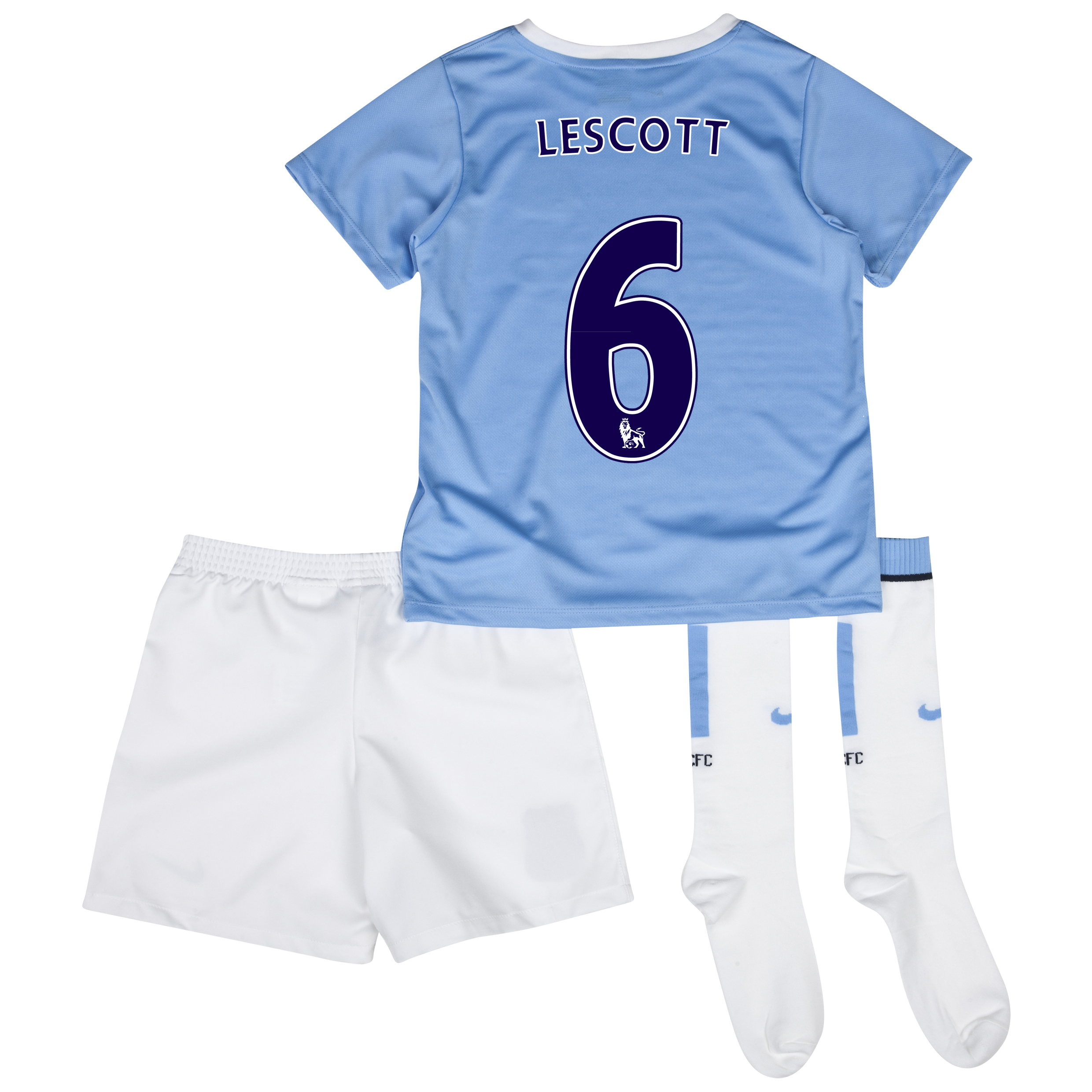 Manchester City Home Little Boys Kit 2013/14 with Lescott 6 printing