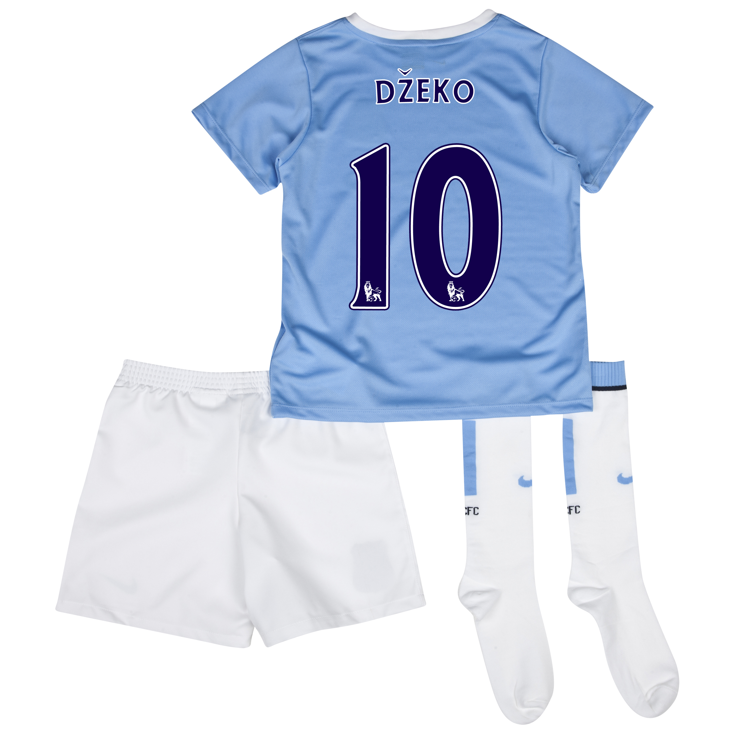 Manchester City Home Little Boys Kit 2013/14 with Dzeko 10 printing
