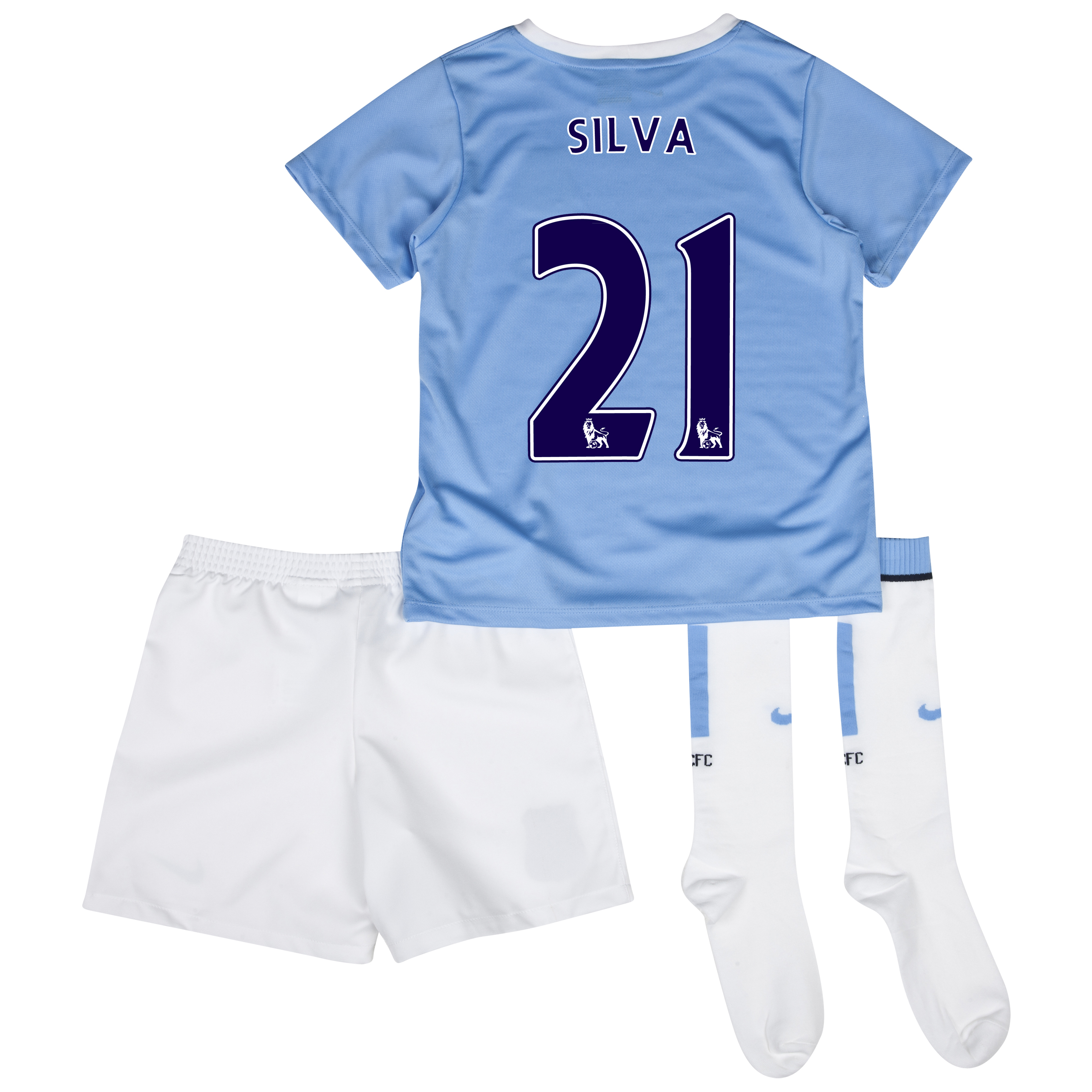 Manchester City Home Little Boys Kit 2013/14 with Silva 21 printing
