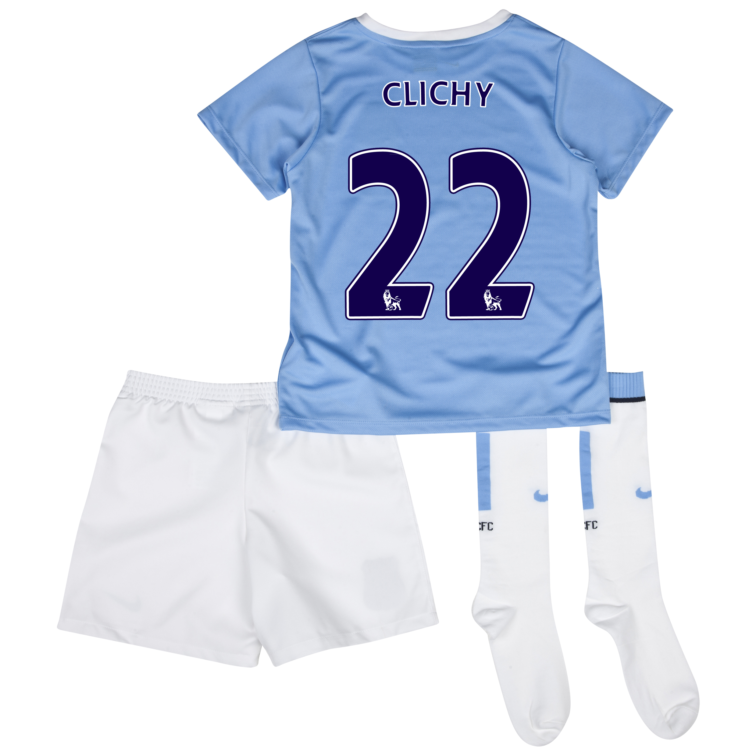 Manchester City Home Little Boys Kit 2013/14 with Clichy 22 printing