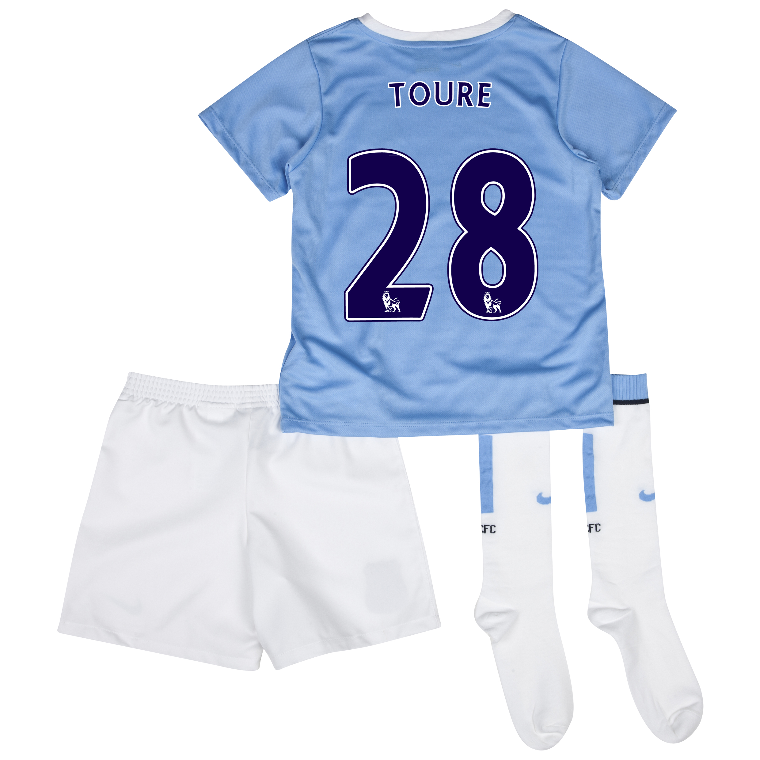 Manchester City Home Little Boys Kit 2013/14 with Toure 28 printing