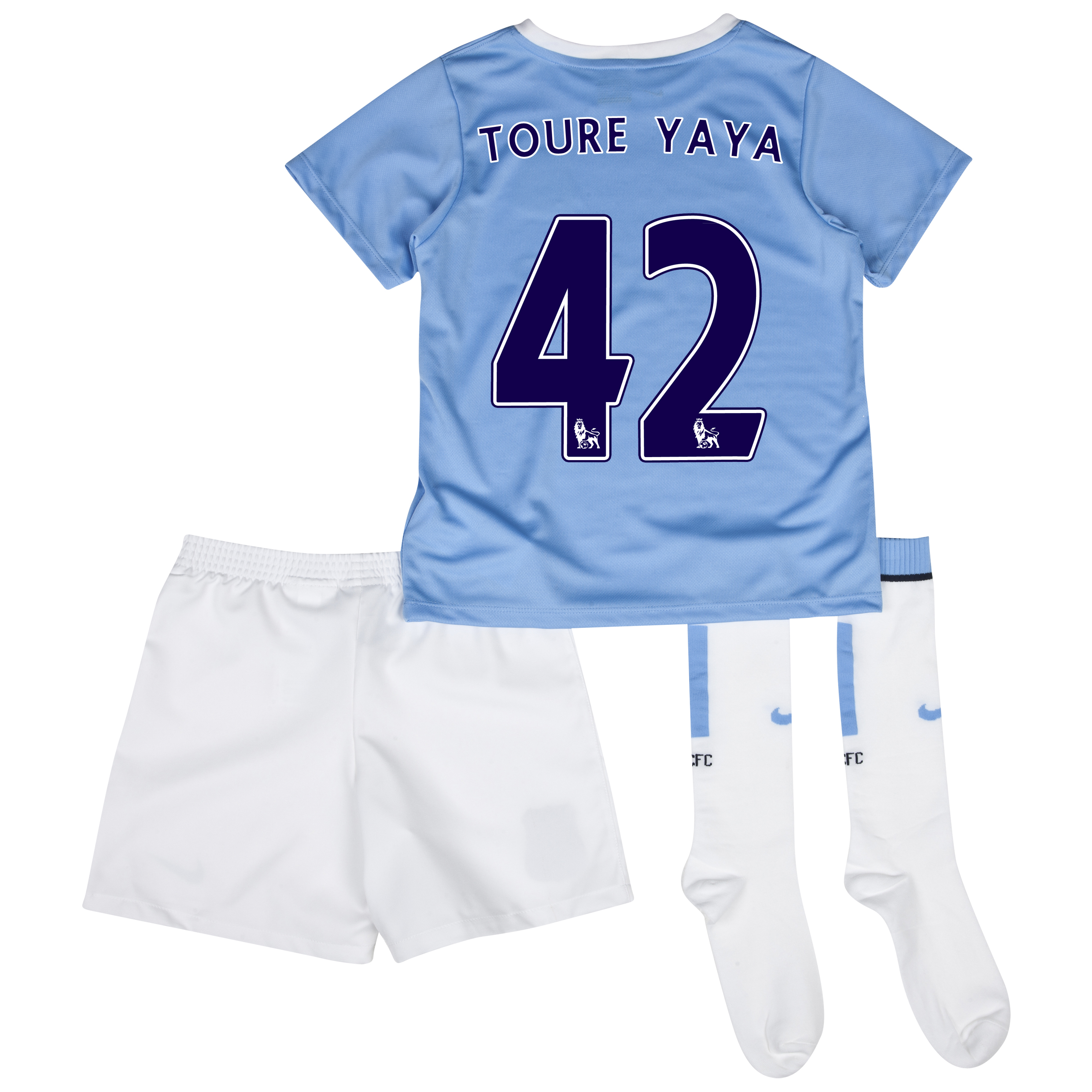 Manchester City Home Little Boys Kit 2013/14 with Toure Yaya 42 printing