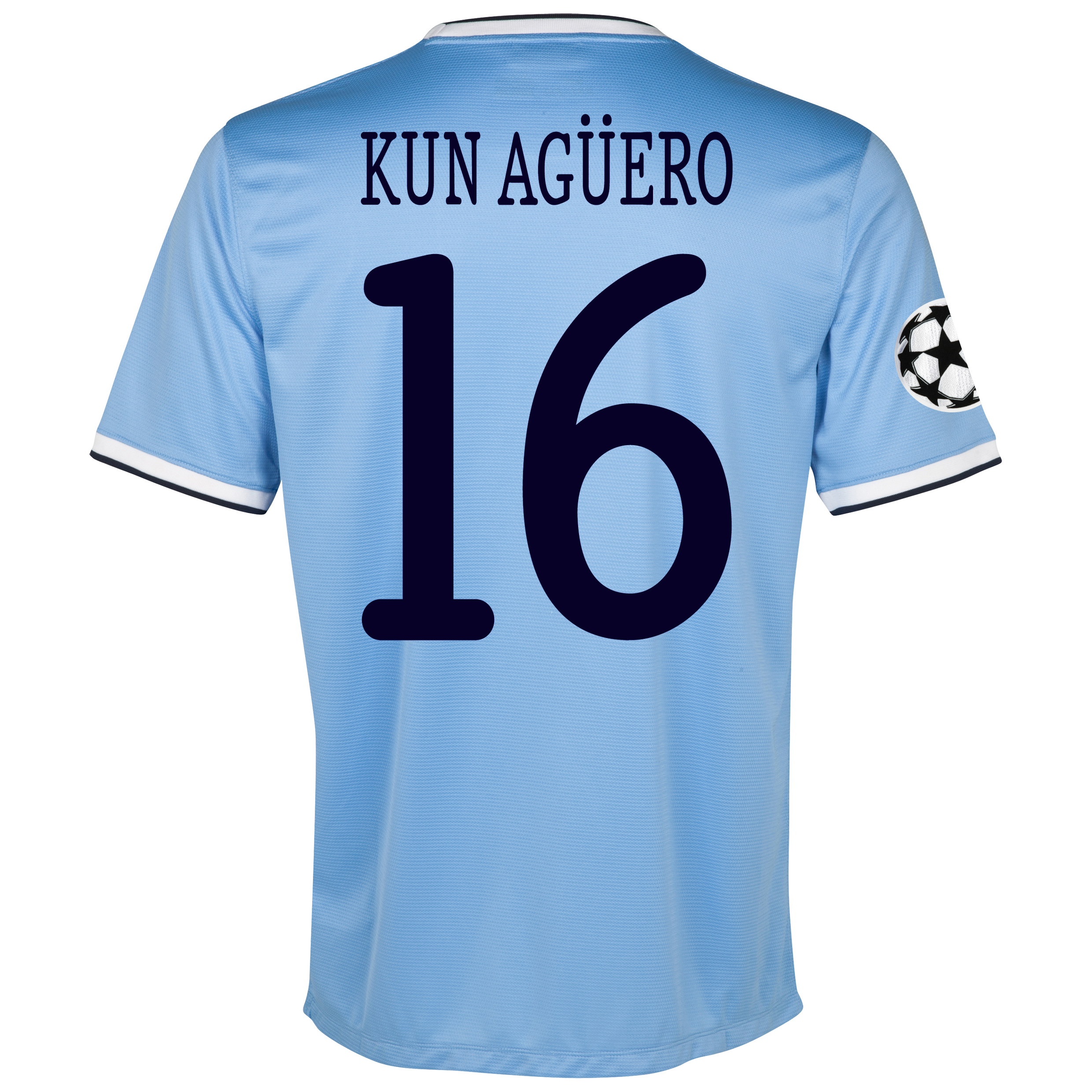 Manchester City UEFA Champions League Home Shirt 2013/14 with Kun Agüero  16 printing