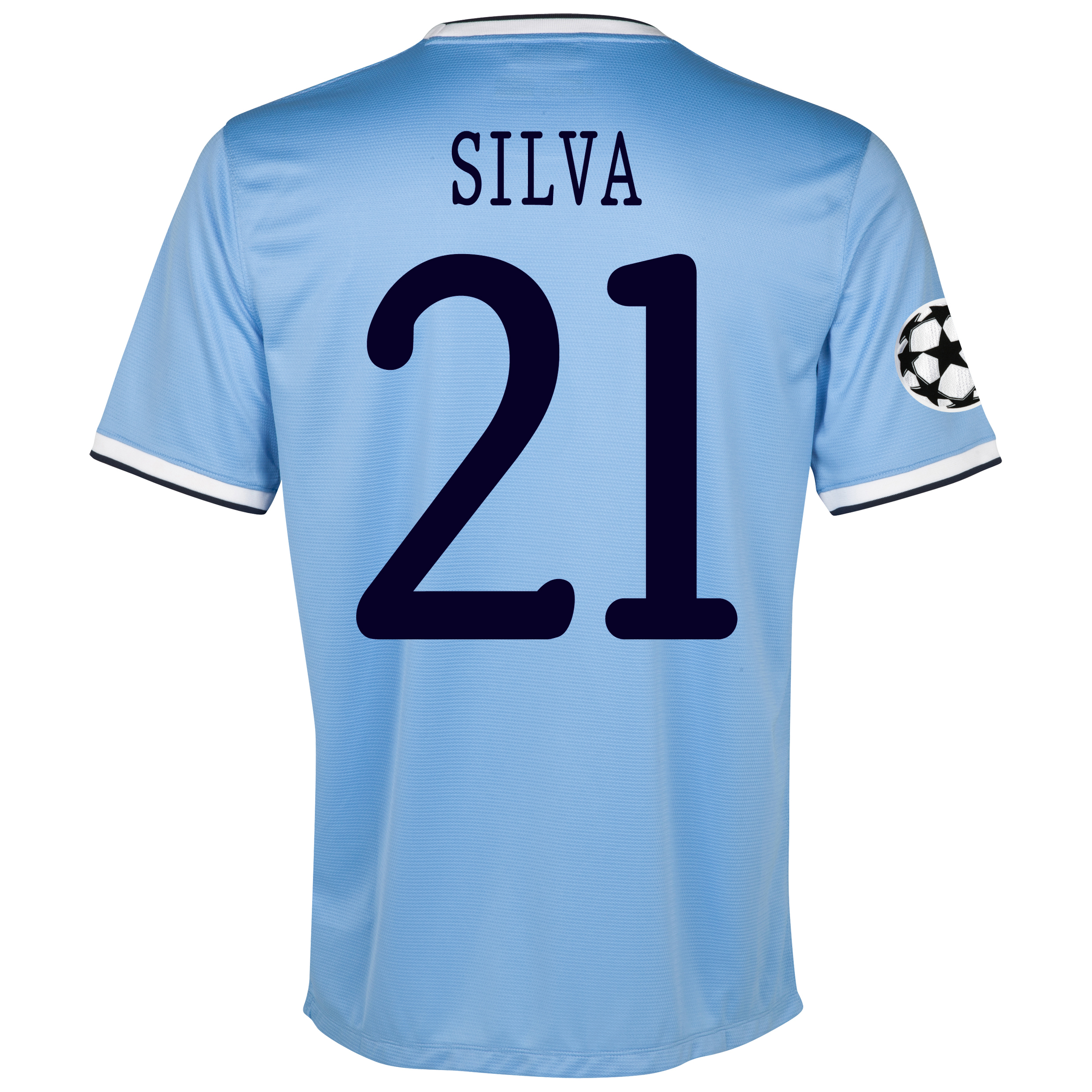 Manchester City UEFA Champions League Home Shirt 2013/14 with Silva 21 printing