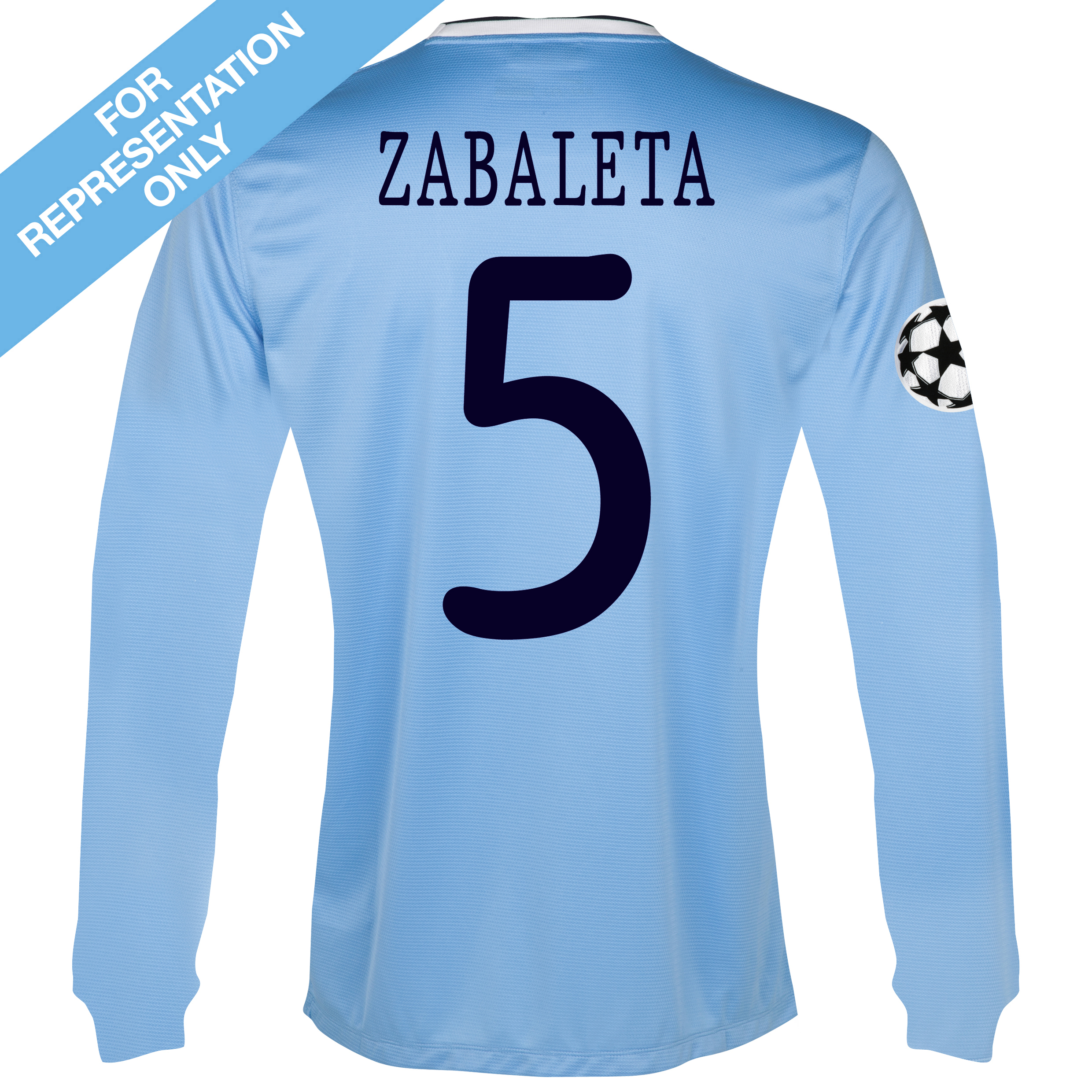 Manchester City UEFA Champions League Home Shirt 2013/14 - Long Sleeved with Zabaleta 5 printing