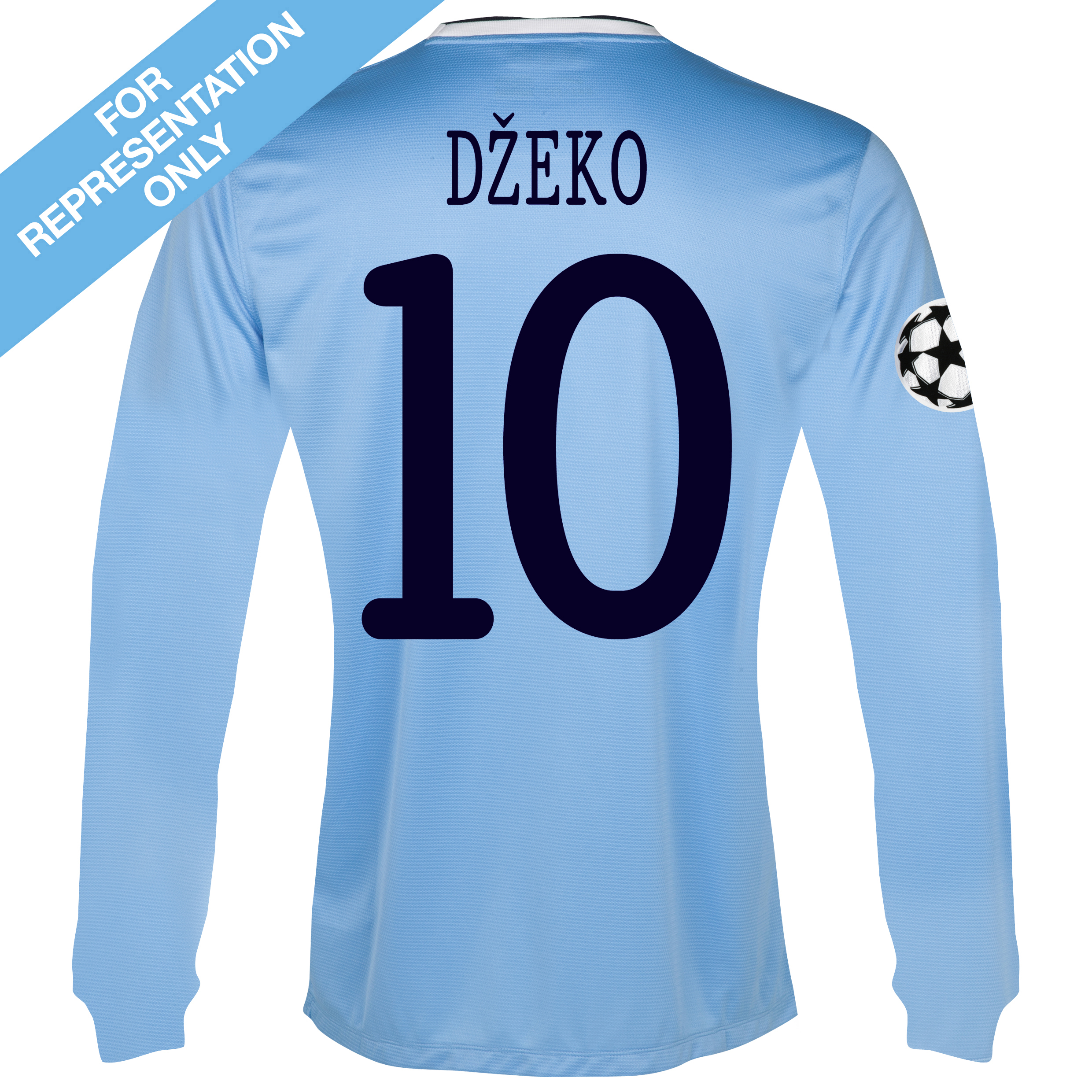 Manchester City UEFA Champions League Home Shirt 2013/14 - Long Sleeved with Dzeko 10 printing