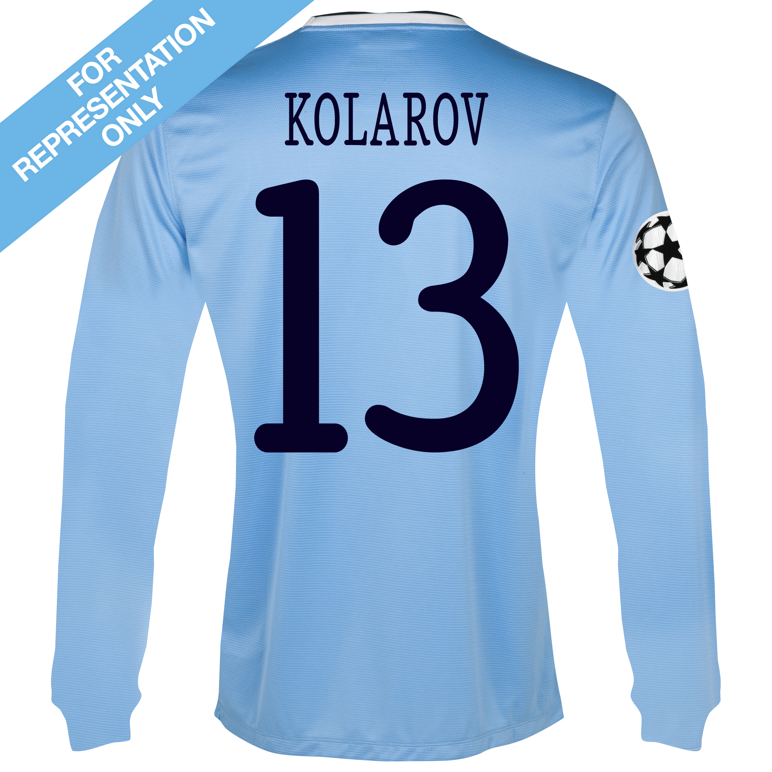 Manchester City UEFA Champions League Home Shirt 2013/14 - Long Sleeved with Kolarov 13 printing