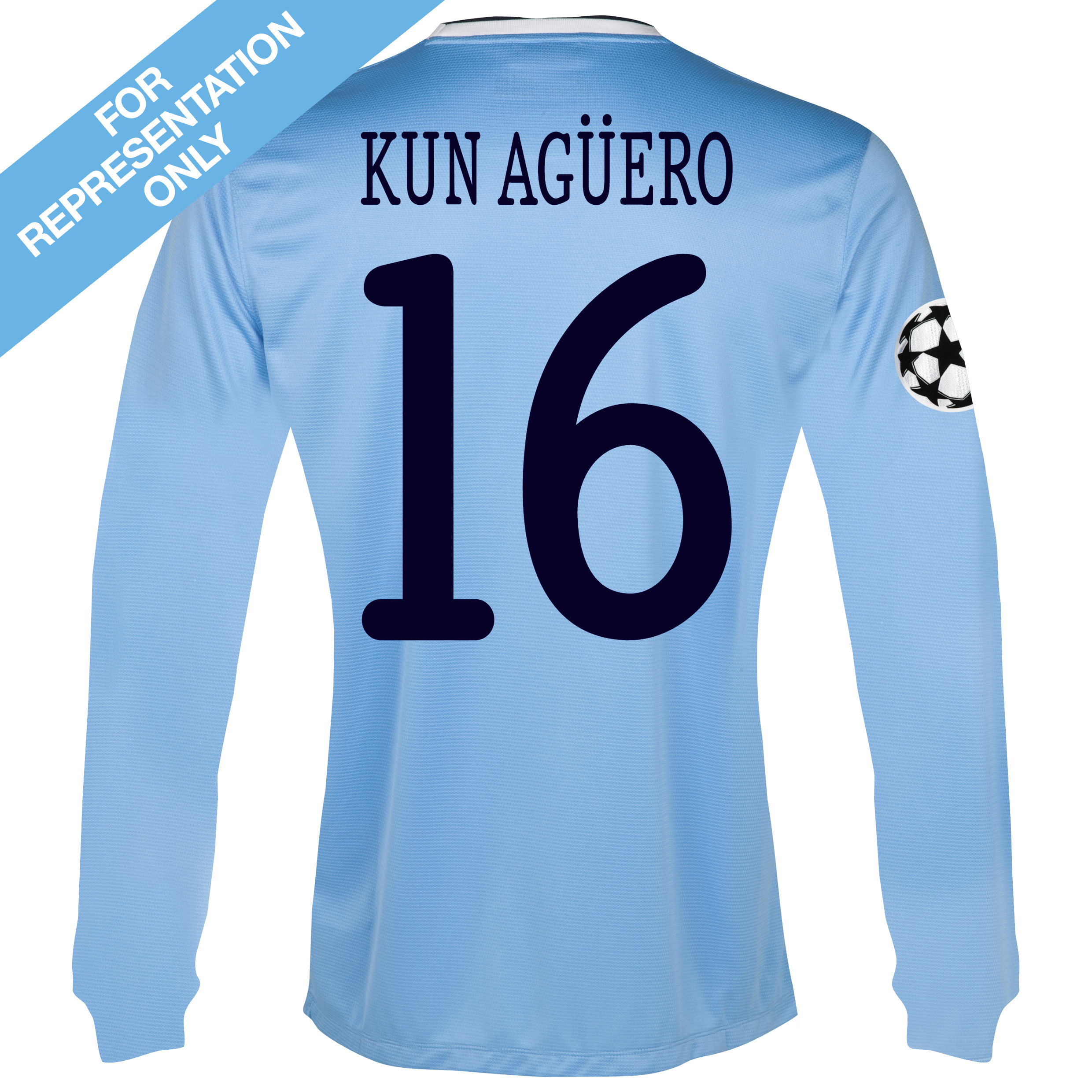Manchester City UEFA Champions League Home Shirt 2013/14 - Long Sleeved with Kun Agüero  16 printing