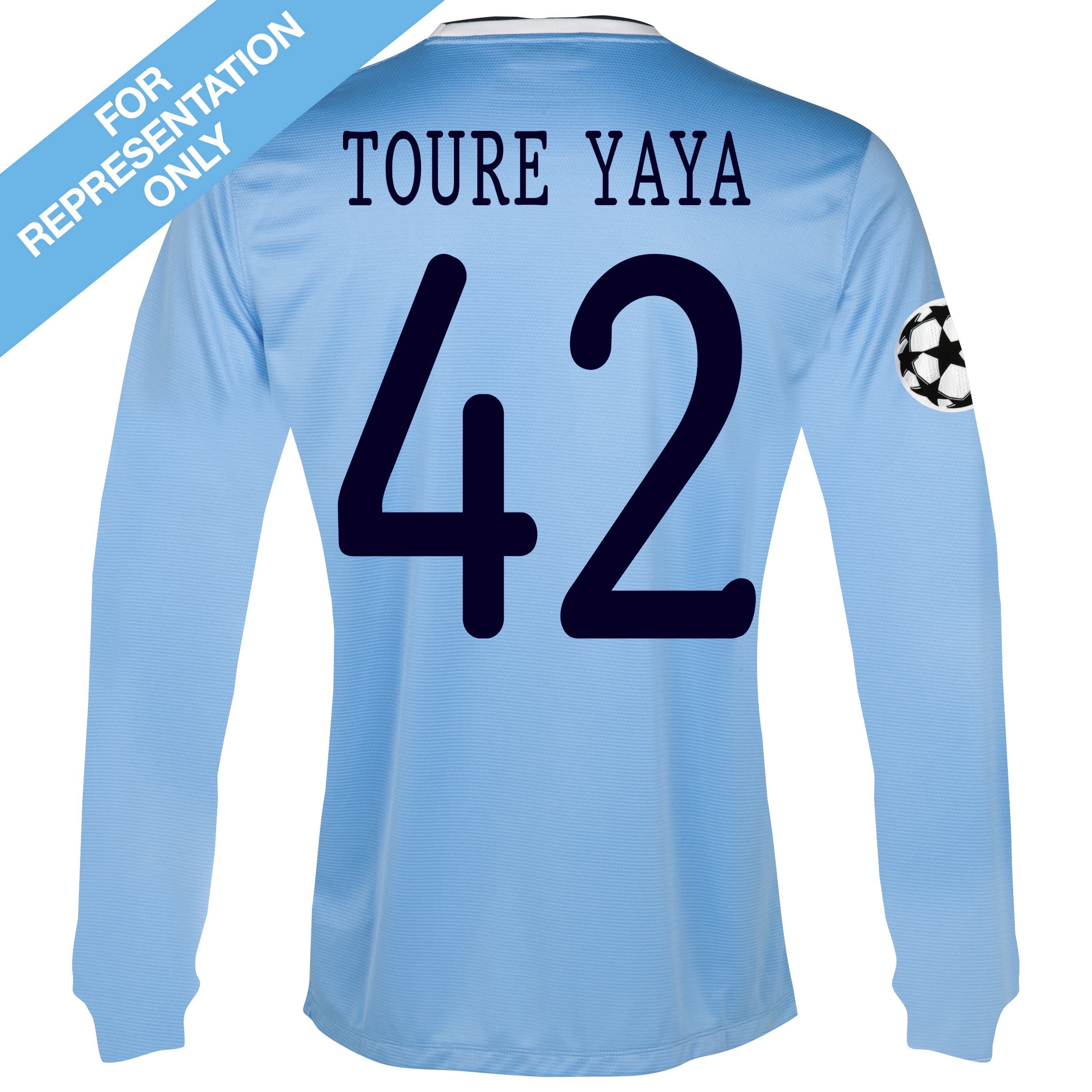 Manchester City UEFA Champions League Home Shirt 2013/14 - Long Sleeved with Toure Yaya 42 printing