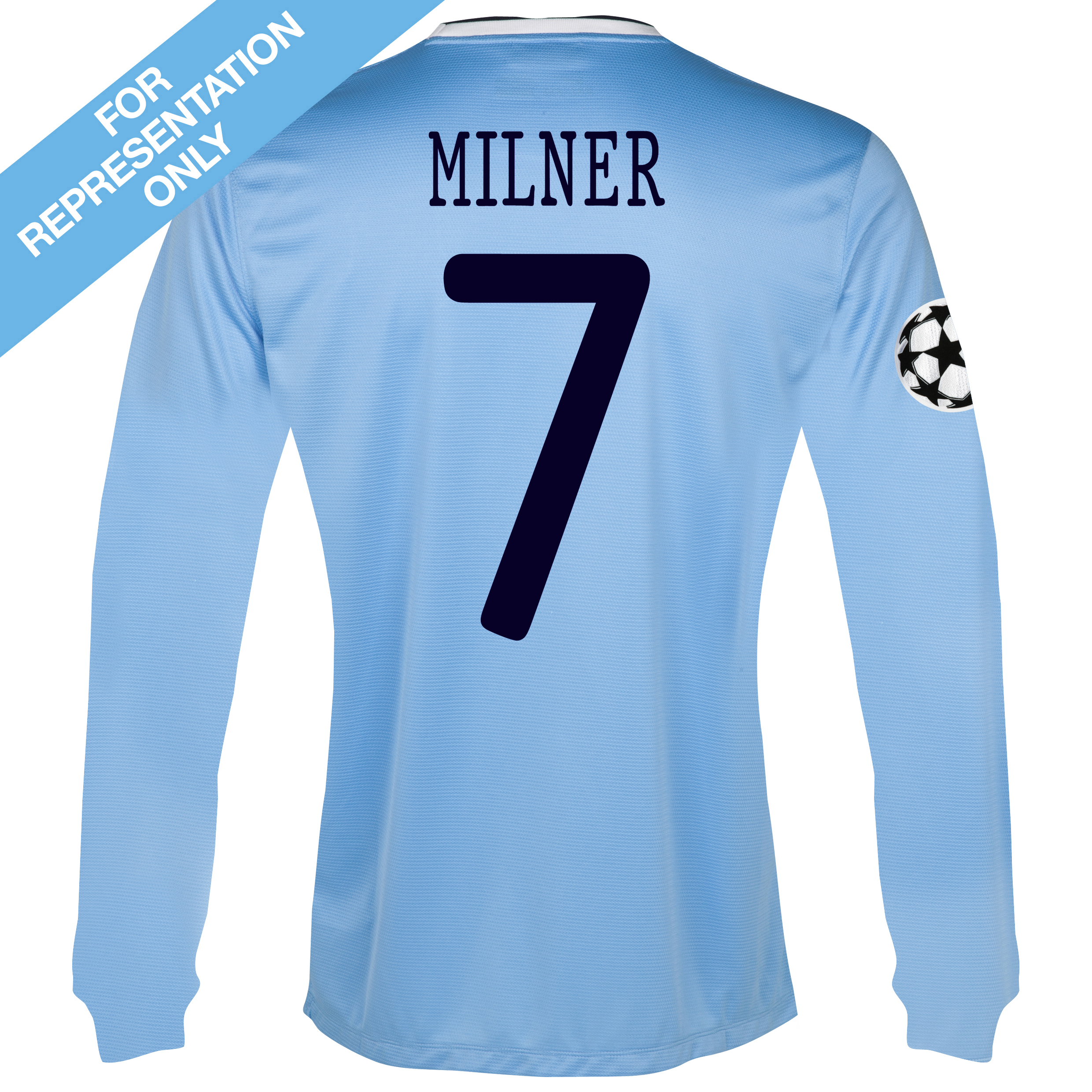 Manchester City UEFA Champions League Home Shirt 2013/14 - Long Sleeved - Junior with Milner 7 printing