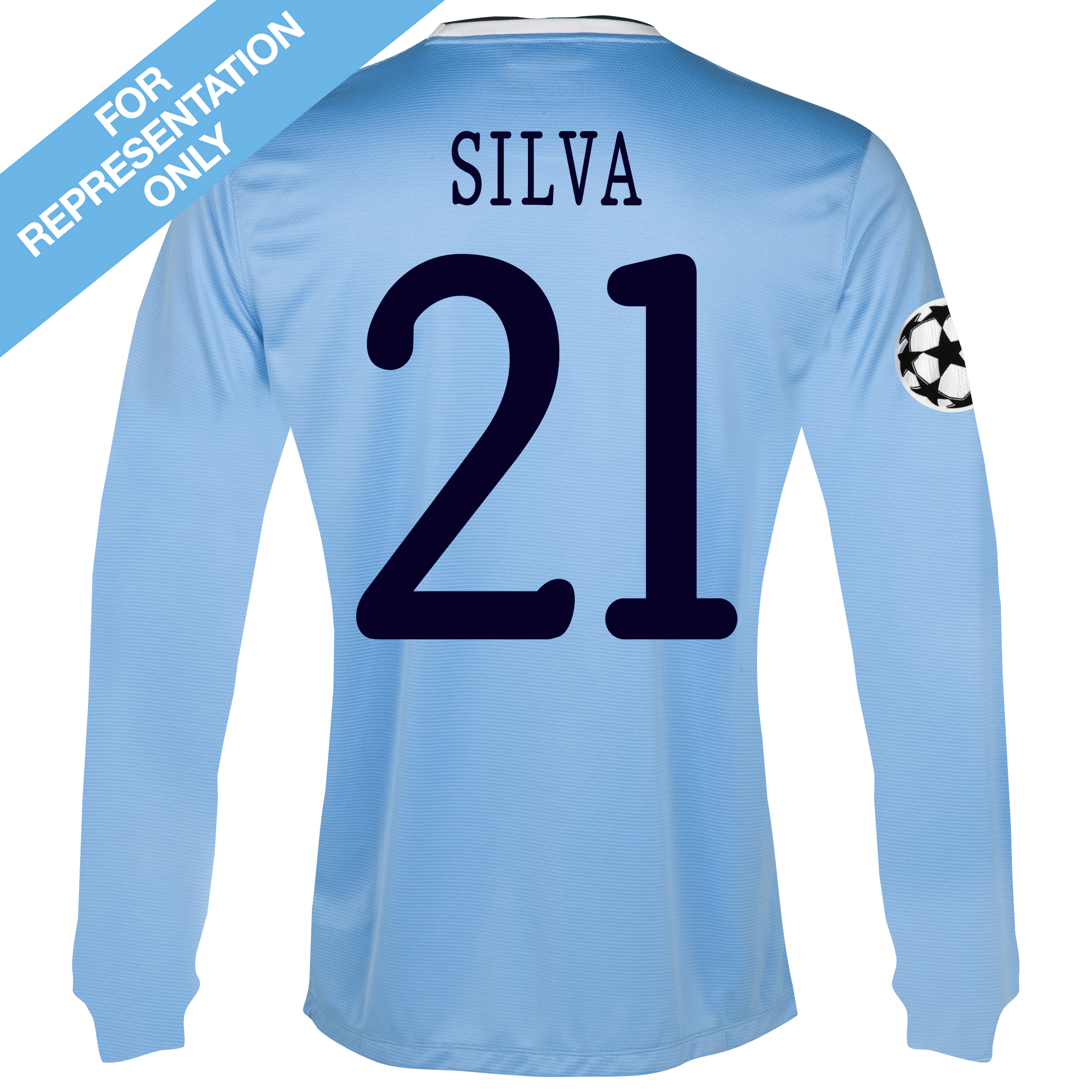 Manchester City UEFA Champions League Home Shirt 2013/14 - Long Sleeved - Junior with Silva 21 printing