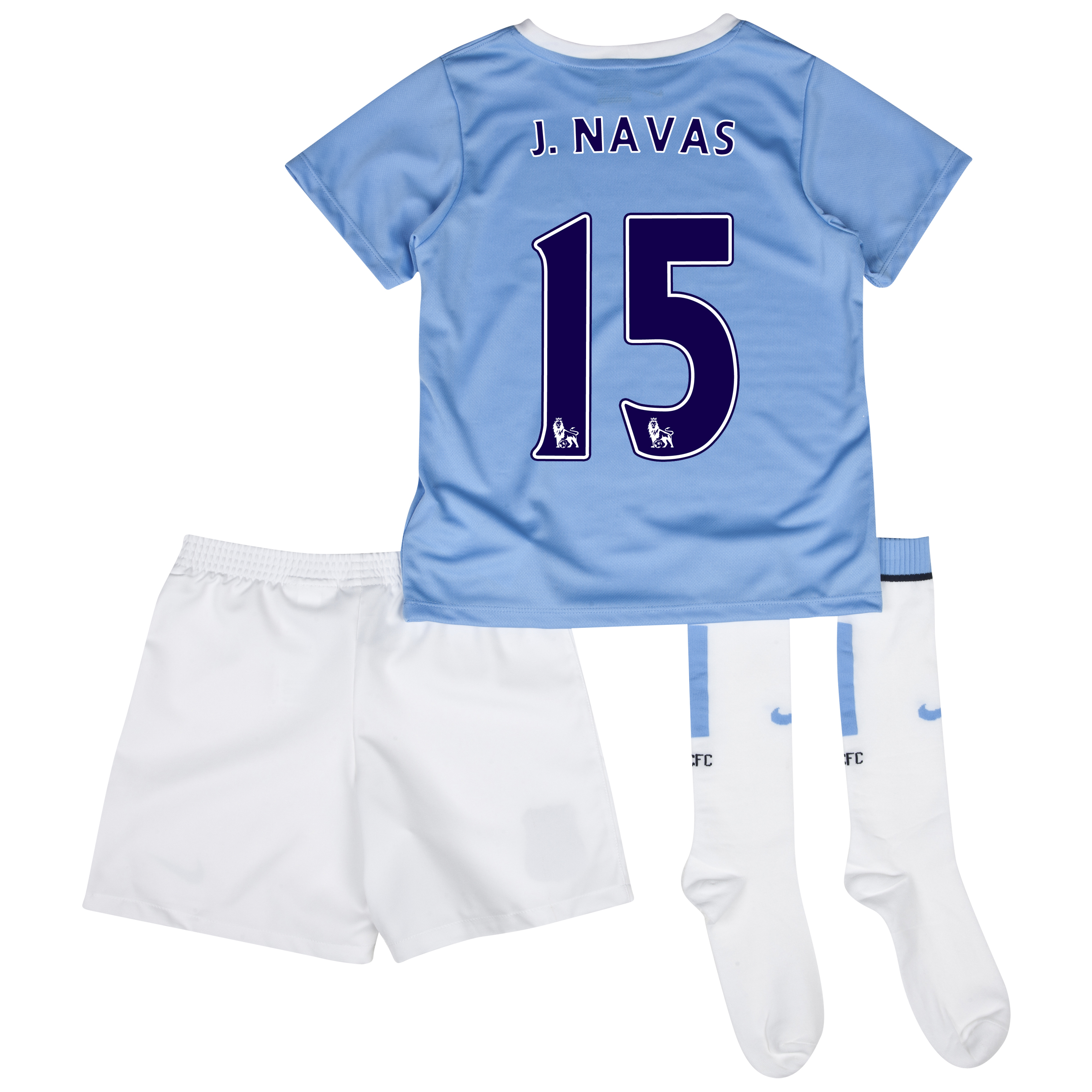Manchester City Home Little Boys Kit 2013/14 with J.Navas 15 printing