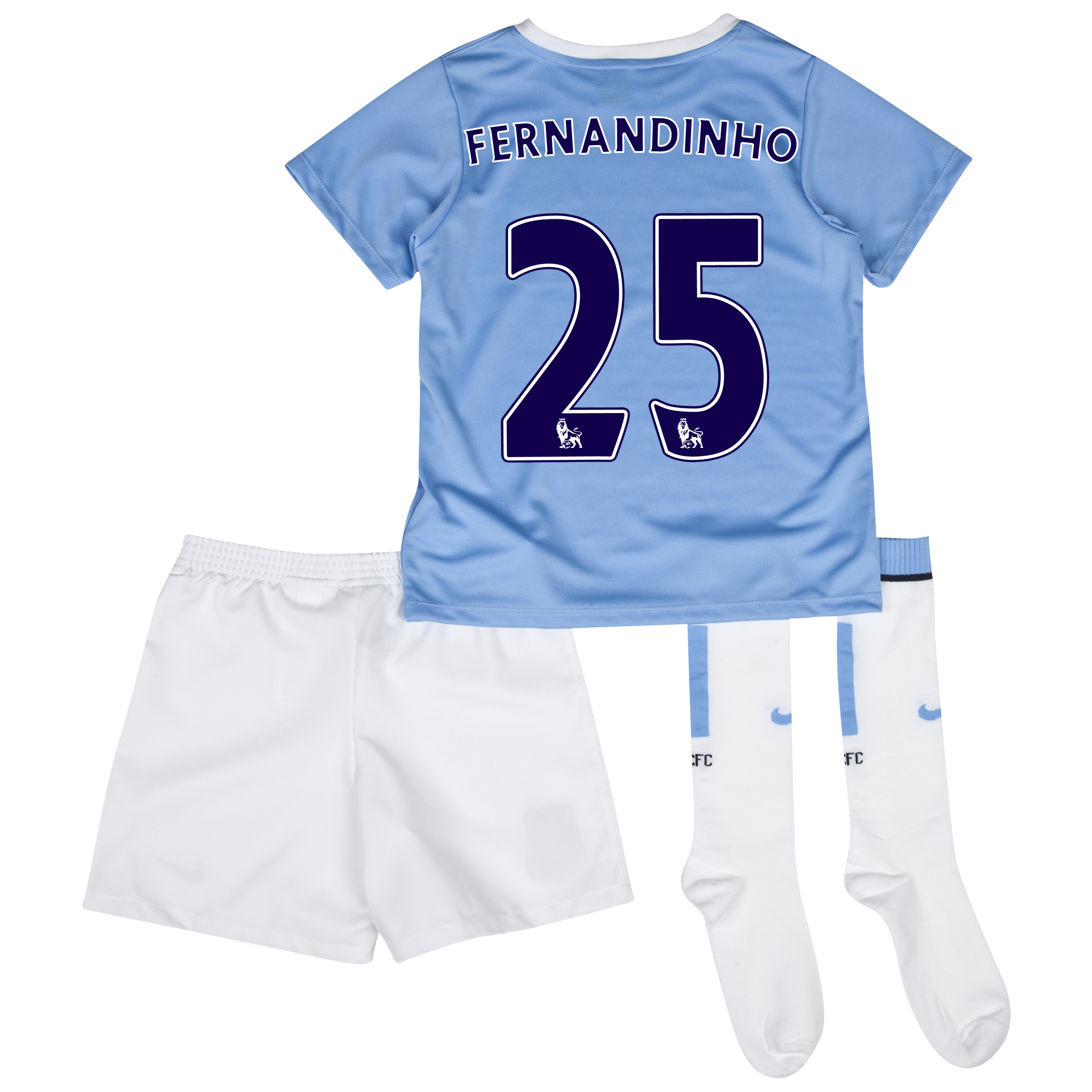 Manchester City Home Little Boys Kit 2013/14 with Fernandinho 25 printing