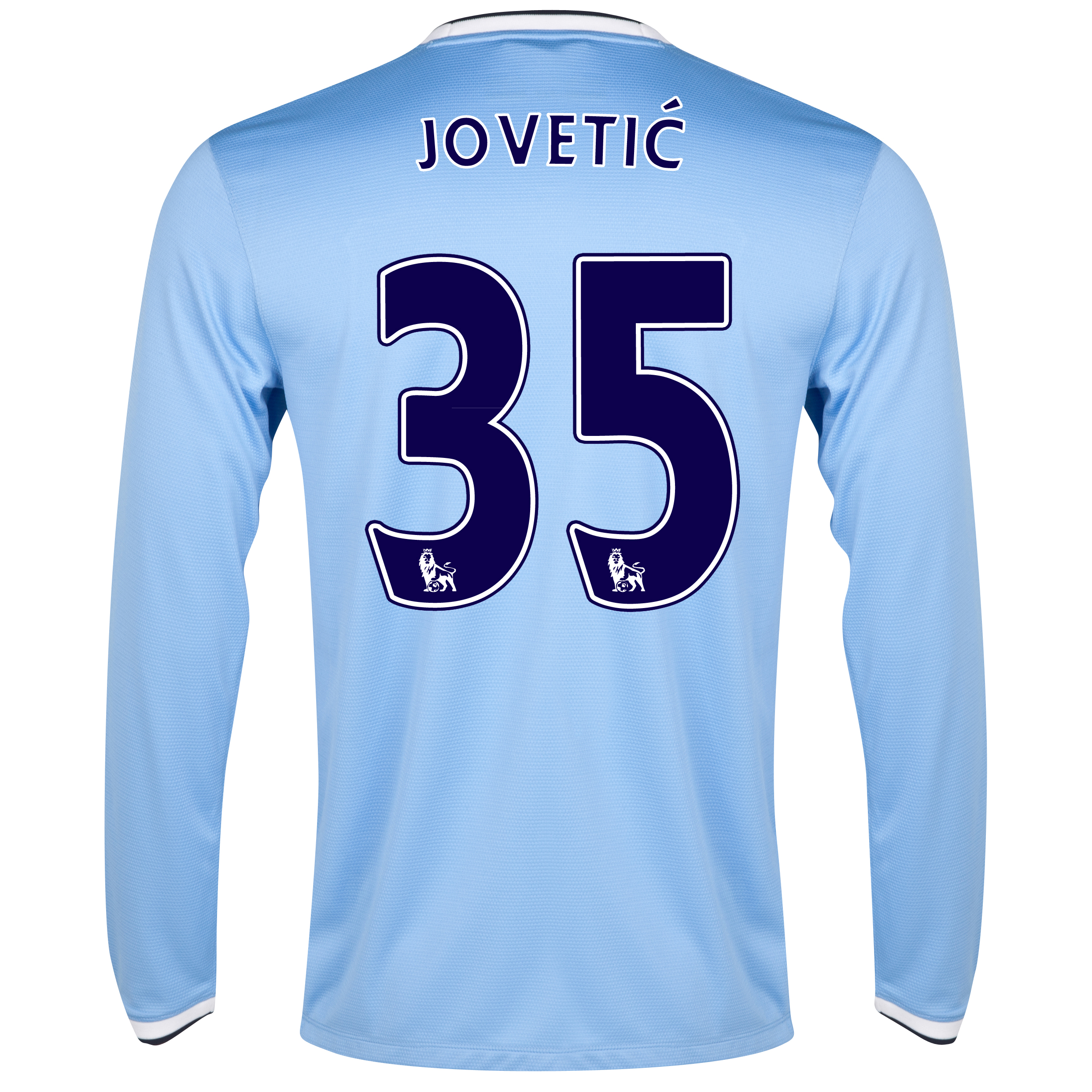 Manchester City Home Shirt 2013/14 - Long Sleeved with Jovetic 35 printing