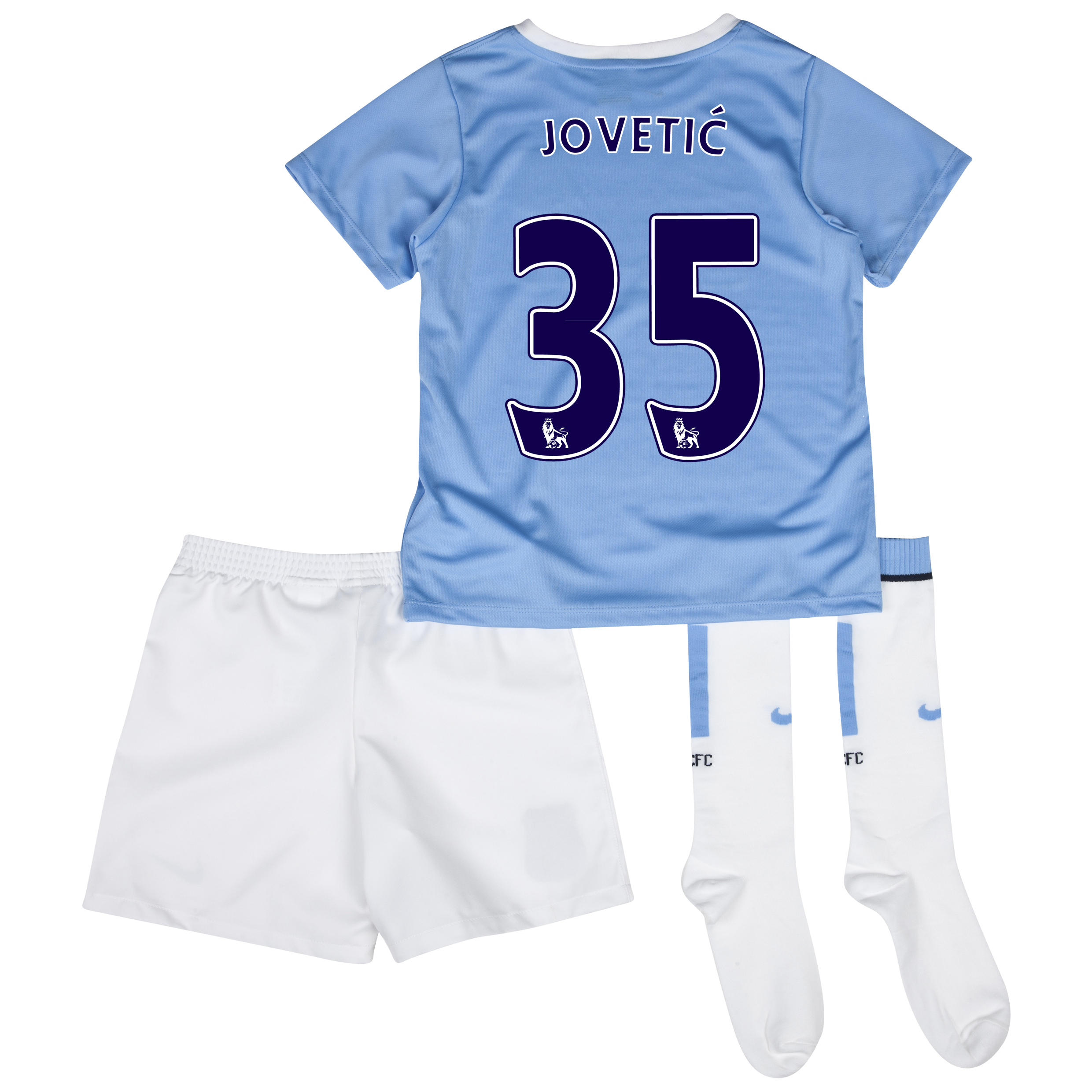 Manchester City Home Little Boys Kit 2013/14 with Jovetic 35 printing
