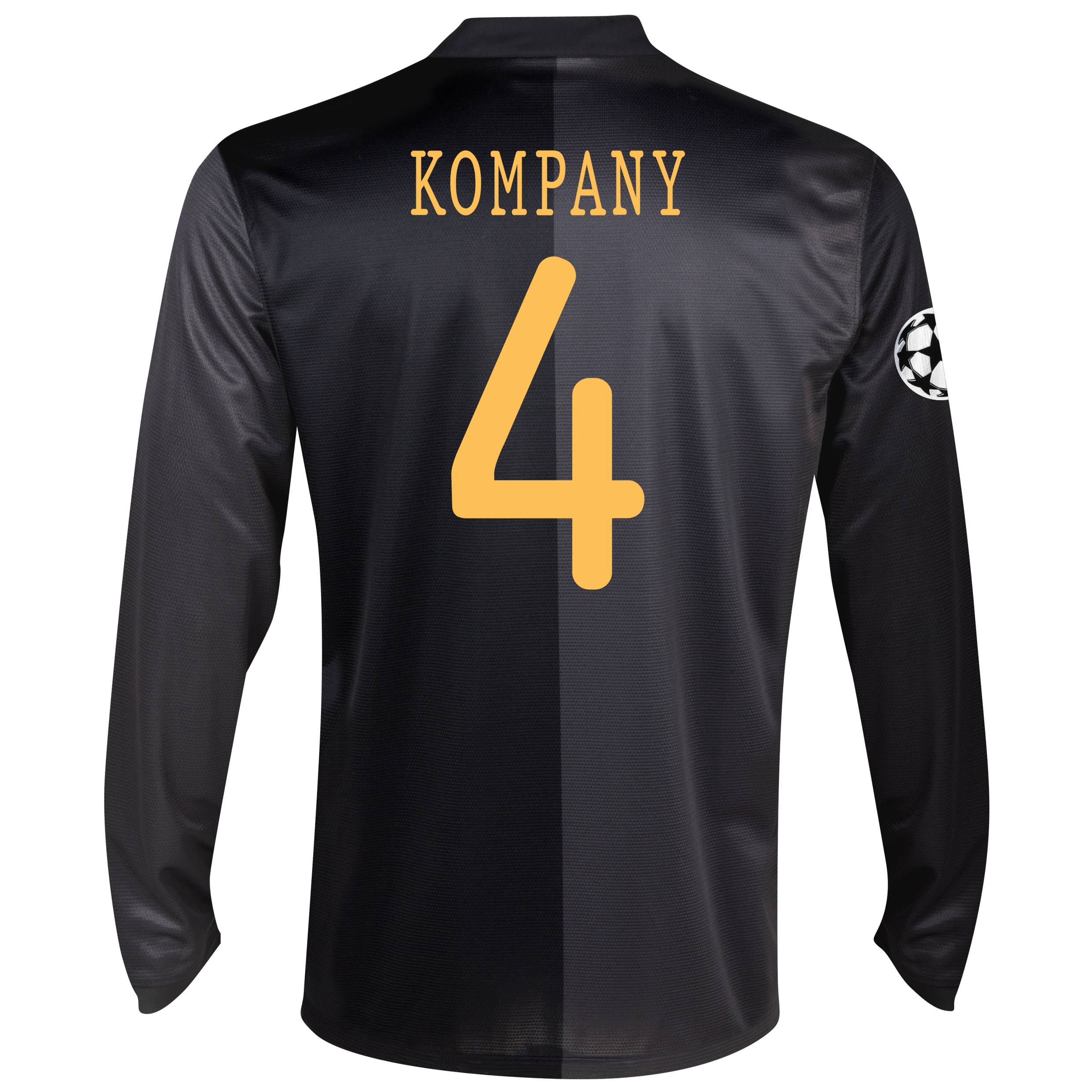 Manchester City UEFA Champions League Away Shirt 2013/14 - Long Sleeved with Kompany 4 printing