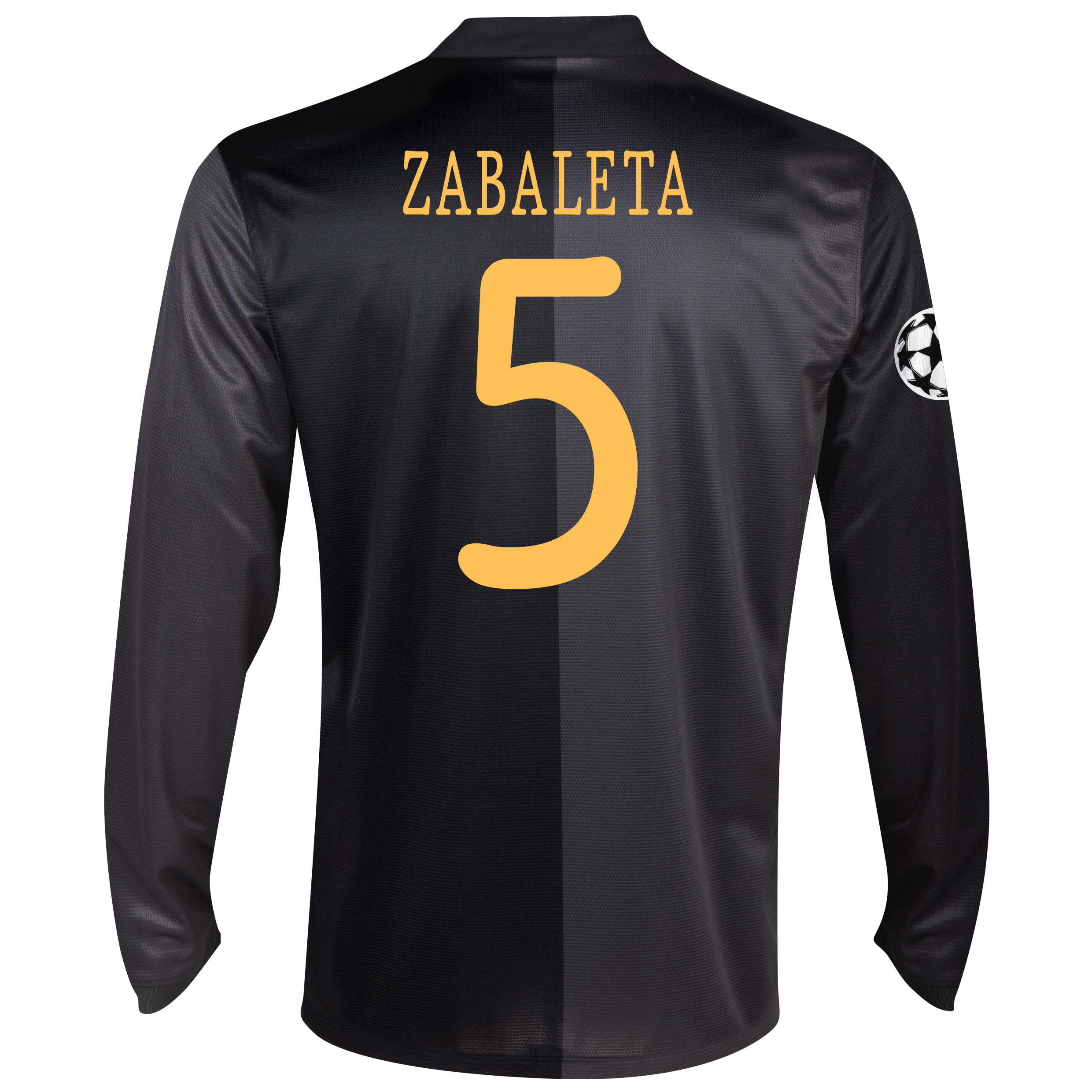Manchester City UEFA Champions League Away Shirt 2013/14 - Long Sleeved with Zabaleta 5 printing