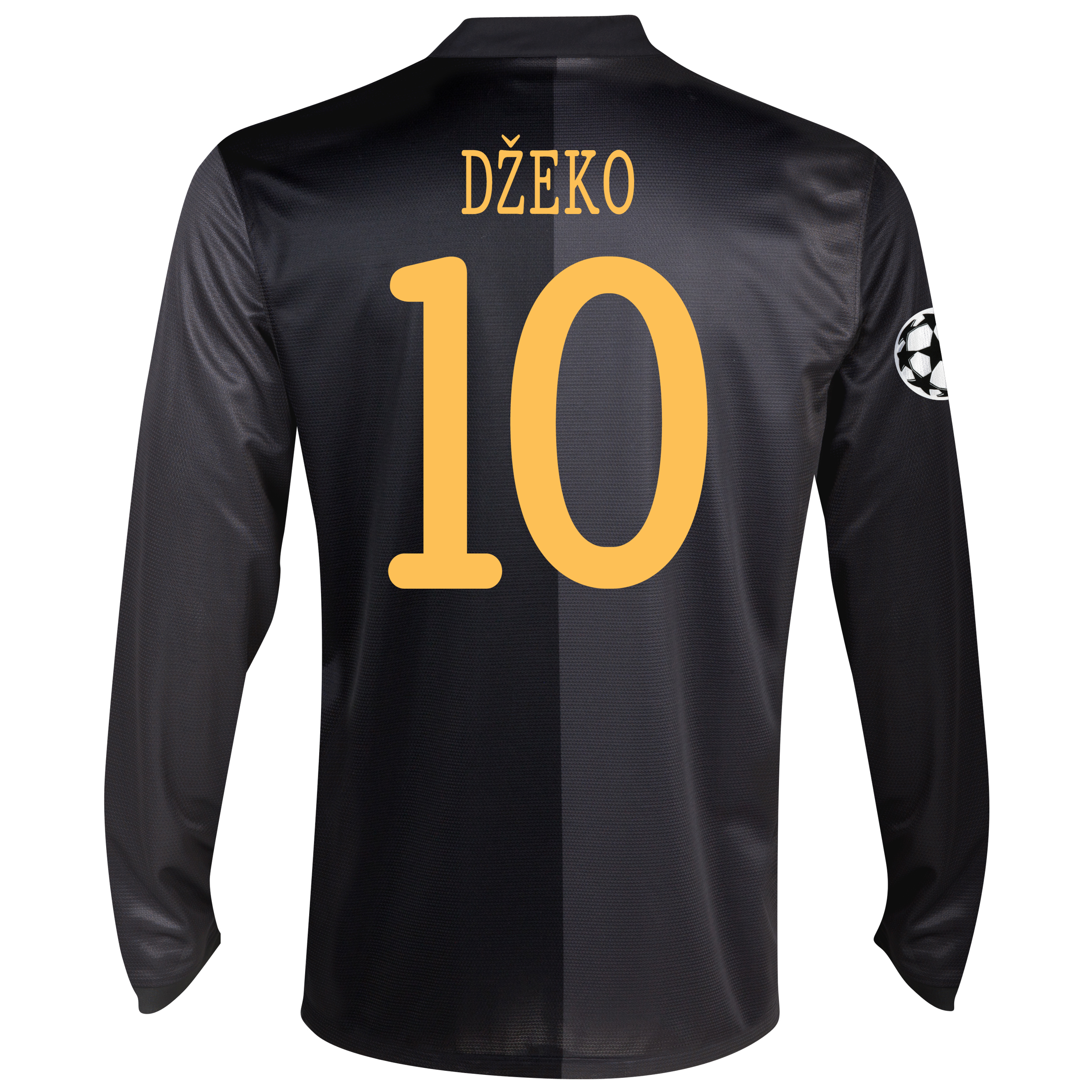 Manchester City UEFA Champions League Away Shirt 2013/14 - Long Sleeved with Dzeko 10 printing