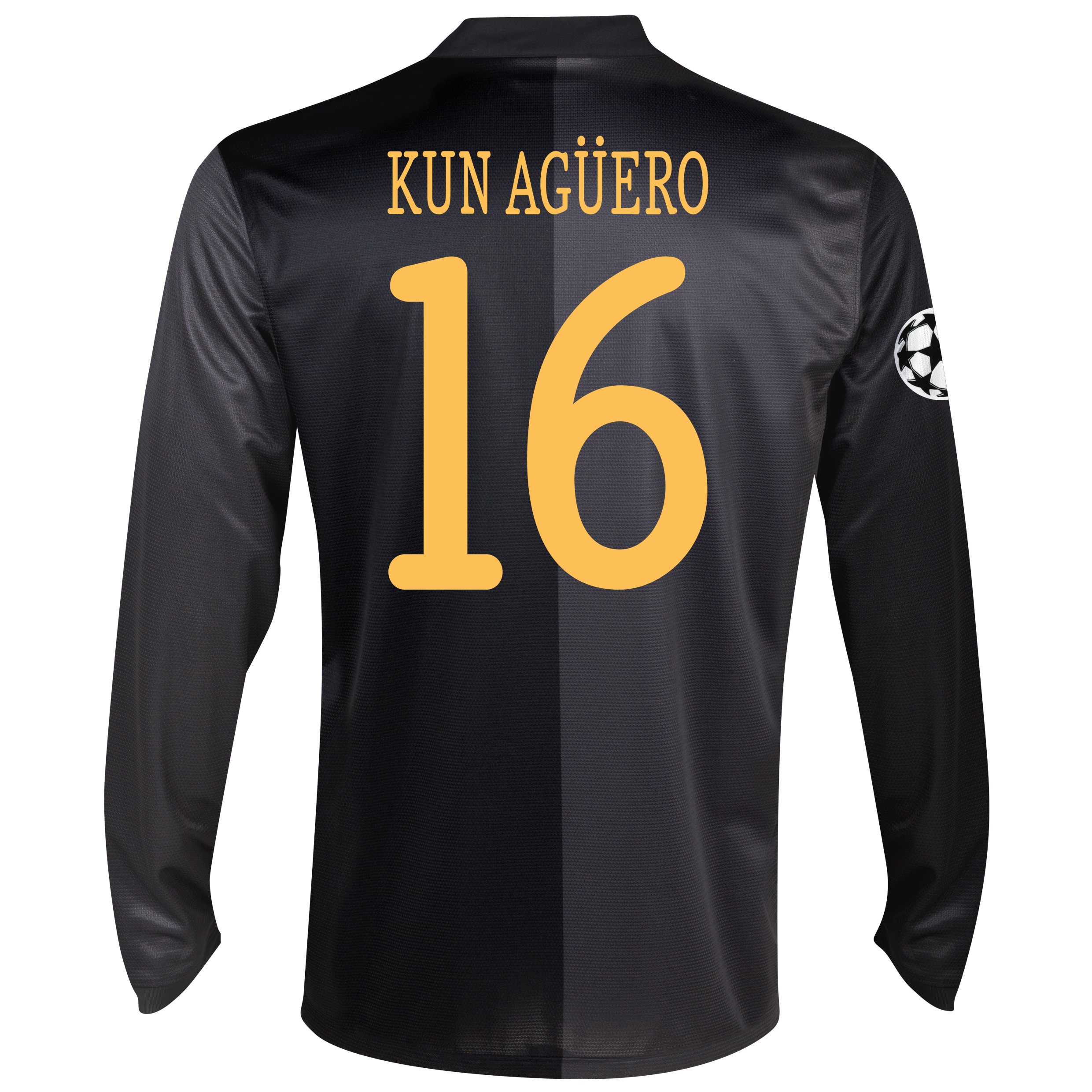 Manchester City UEFA Champions League Away Shirt 2013/14 - Long Sleeved with Kun Agüero  16 printing