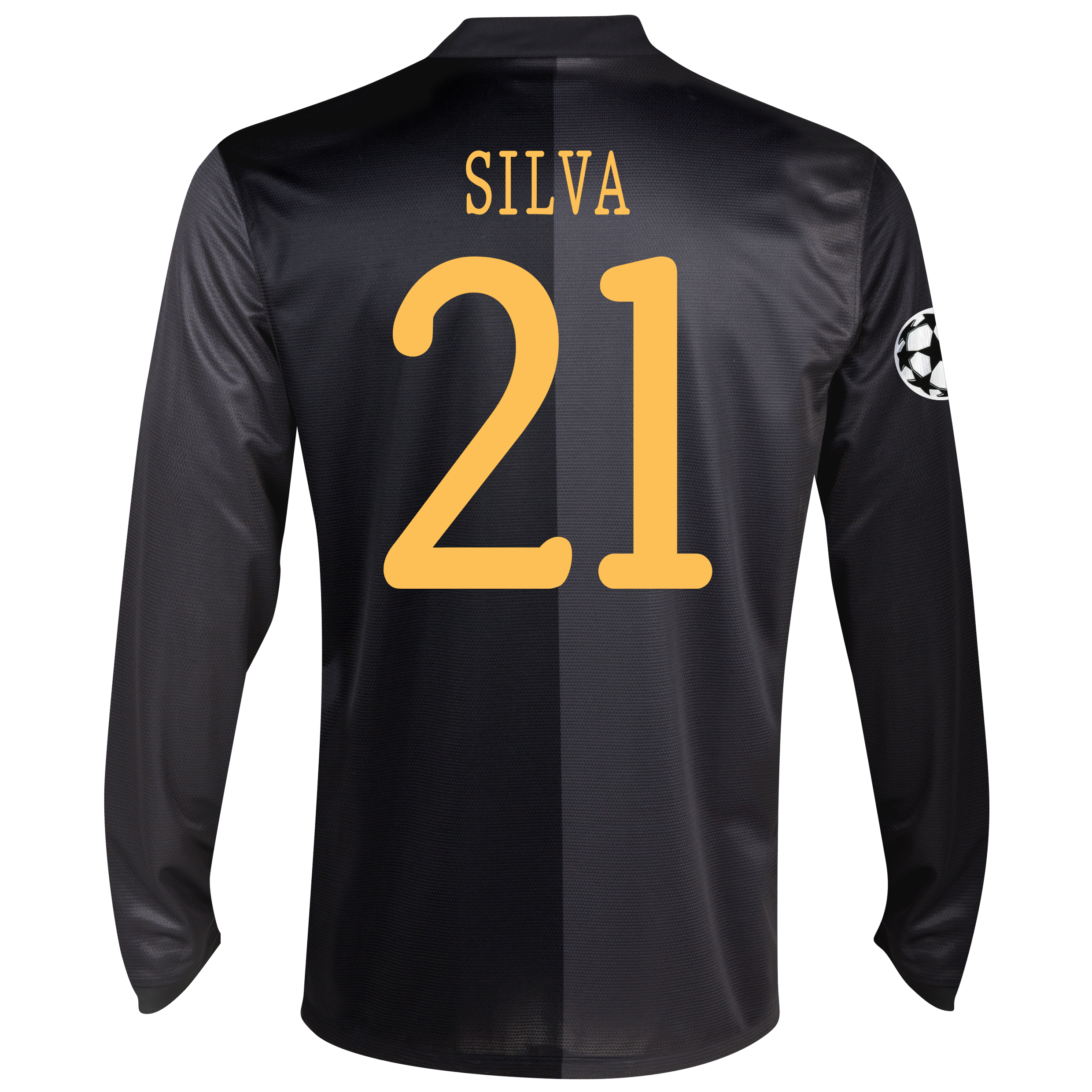 Manchester City UEFA Champions League Away Shirt 2013/14 - Long Sleeved with Silva 21 printing