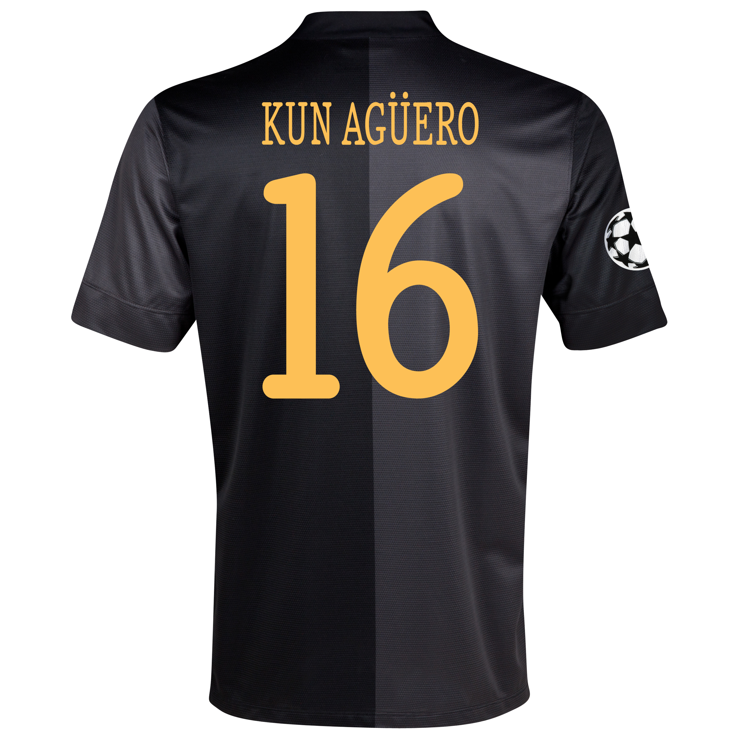 Manchester City UEFA Champions League Away Shirt 2013/14 - Junior with Kun Agüero  16 printing