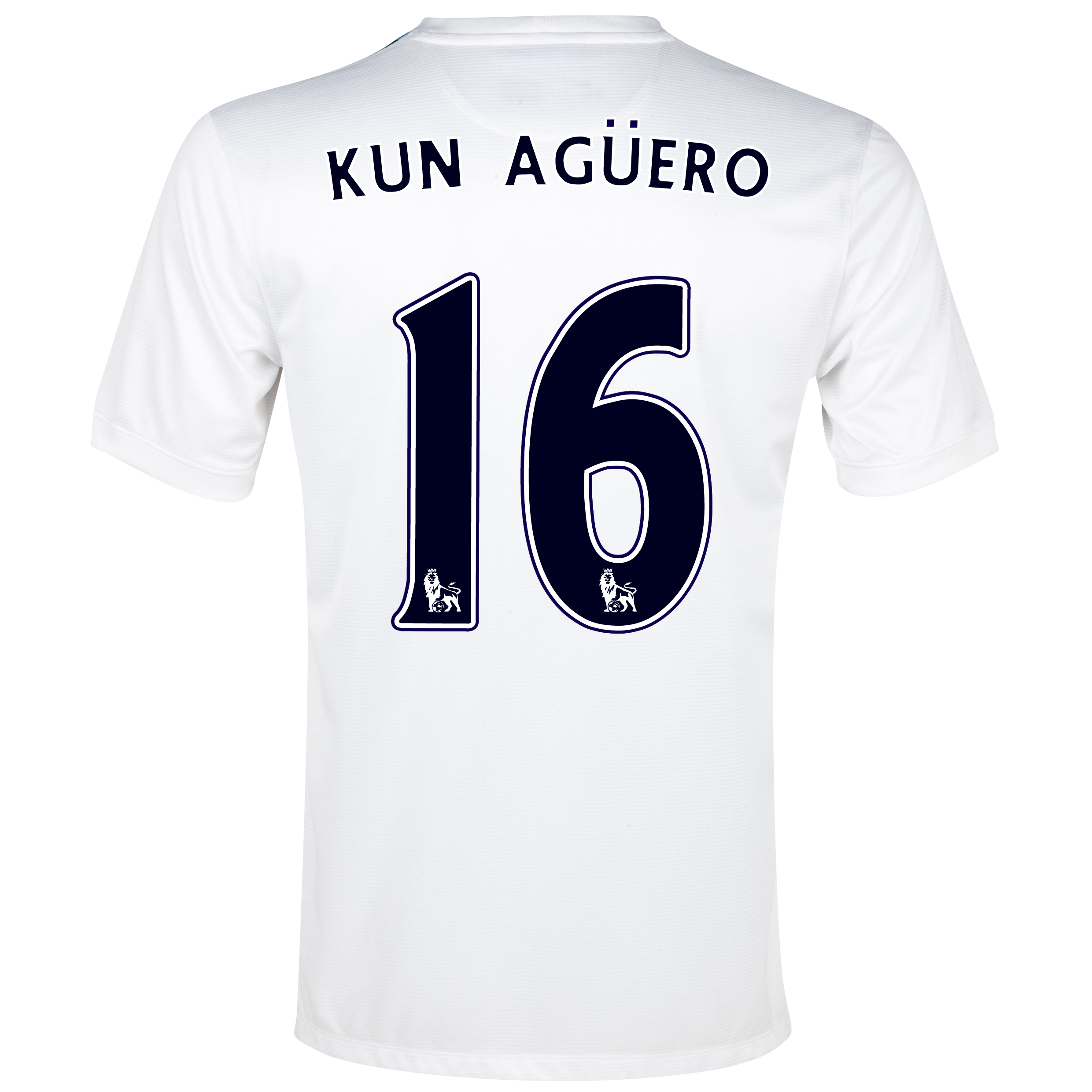 Manchester City Cup Away Shirt 2013/14 White with Kun Agüero  16 printing