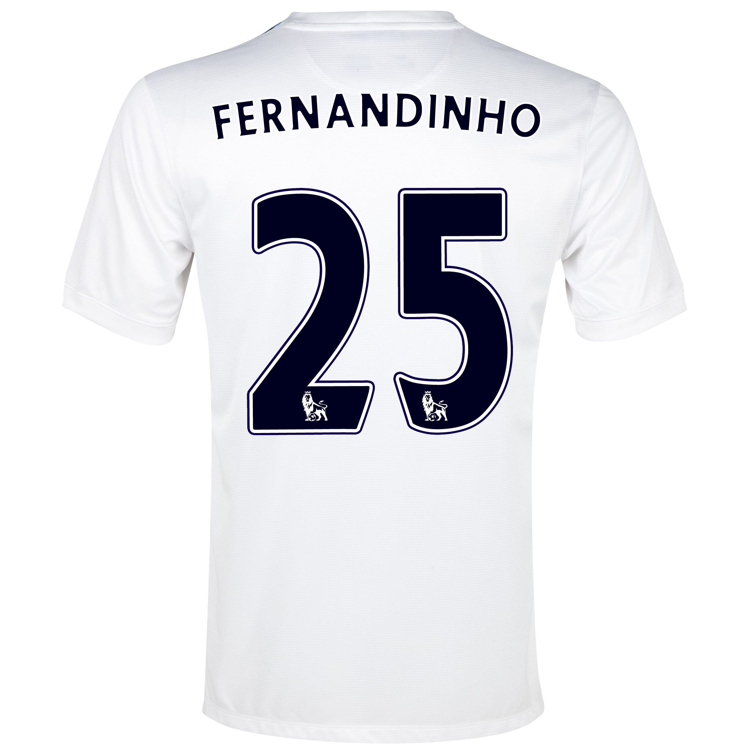 Manchester City Cup Away Shirt 2013/14 White with Fernandinho 25 printing
