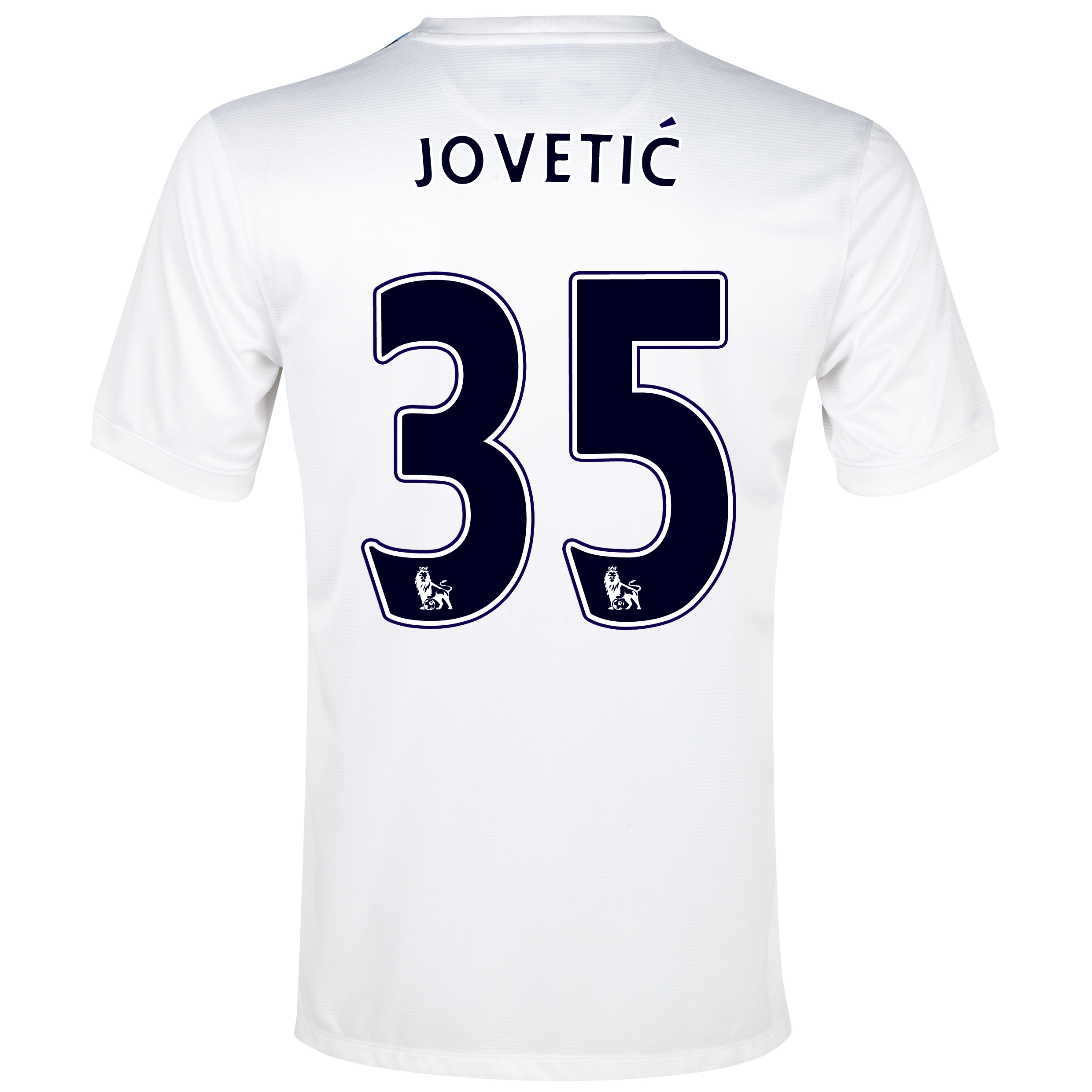 Manchester City Cup Away Shirt 2013/14 White with Jovetic 35 printing