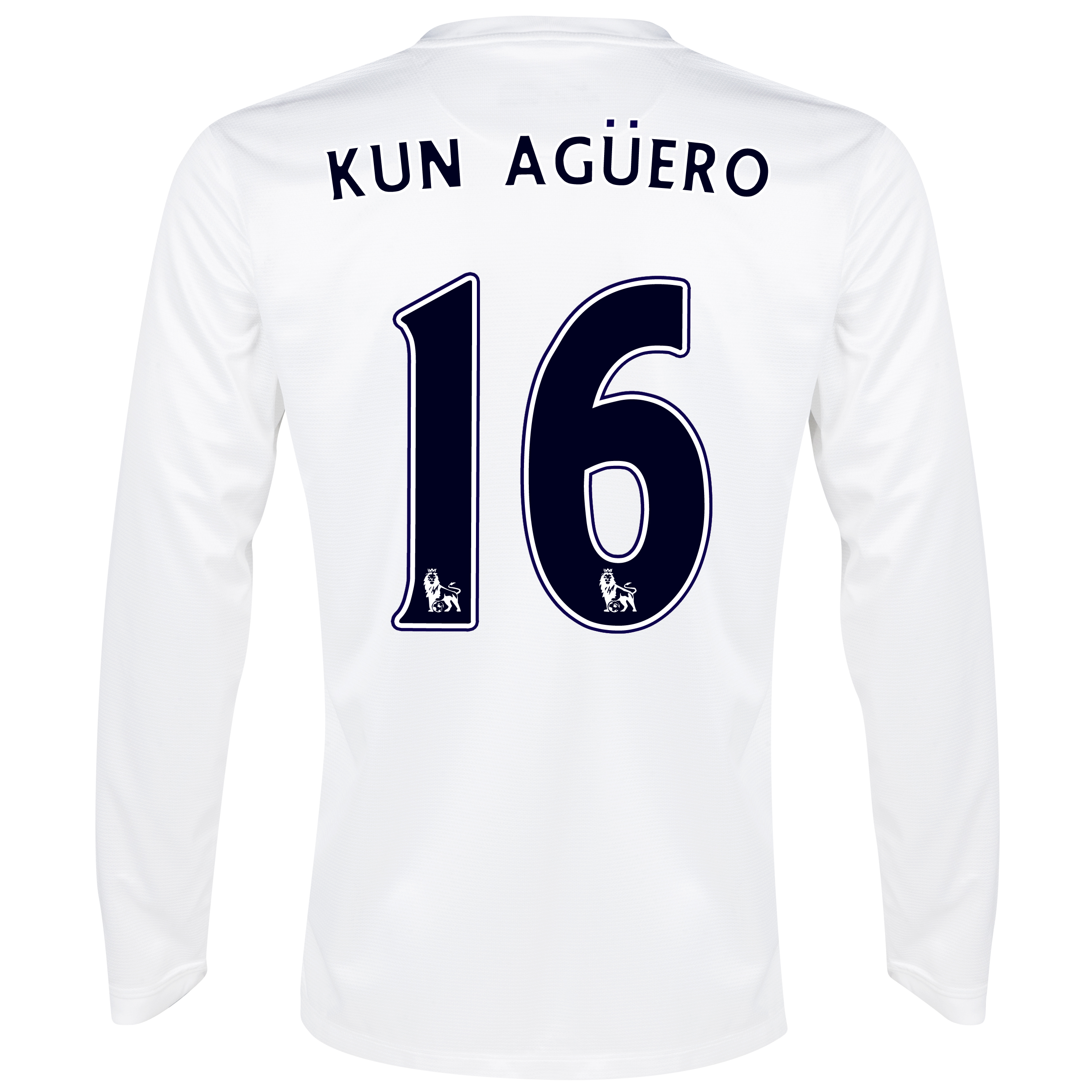 Manchester City Cup Away Shirt 2013/14 - Long Sleeved White with Kun Agüero  16 printing
